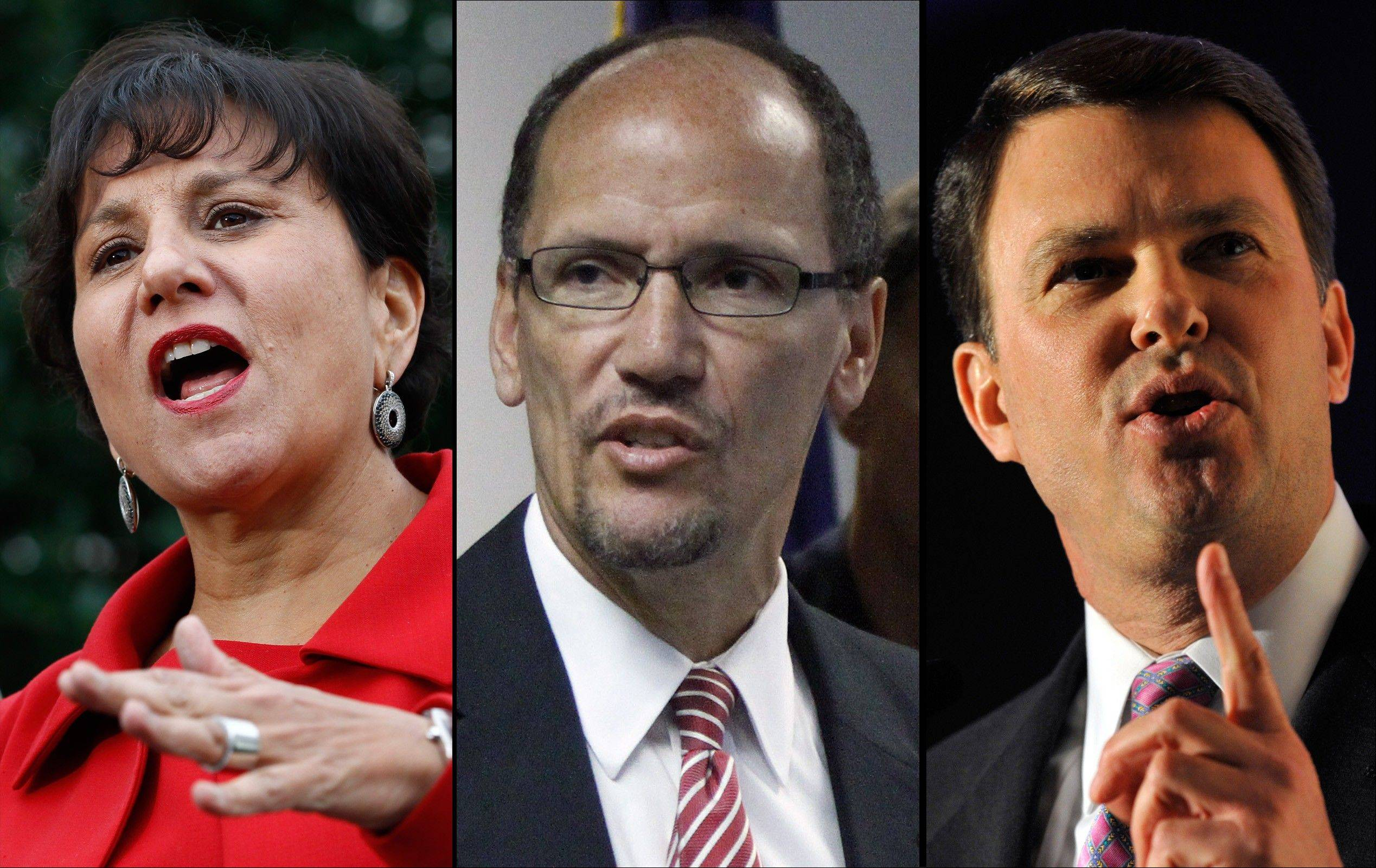 This combination of file photos shows from left: Penny Pritzker, a long-time Obama ally and big-money fundraiser from Chicago; Tom Perez, the assistant U.S. attorney general for civil rights and former secretary of Maryland's Department of Labor, Licensing and Regulation; and John Berry, the current director of the U.S. Office of Personnel Management and a former senior official at the Interior Department. He is the highest ranking openly gay official in the government. The three have been speculated as potential replacements for cabinet positions in the Obama administration. Obama is said to be looking at women, Latinos and openly gay candidates for top slots at the departments of Commerce, Labor and Interior, and for his own White House budget office.