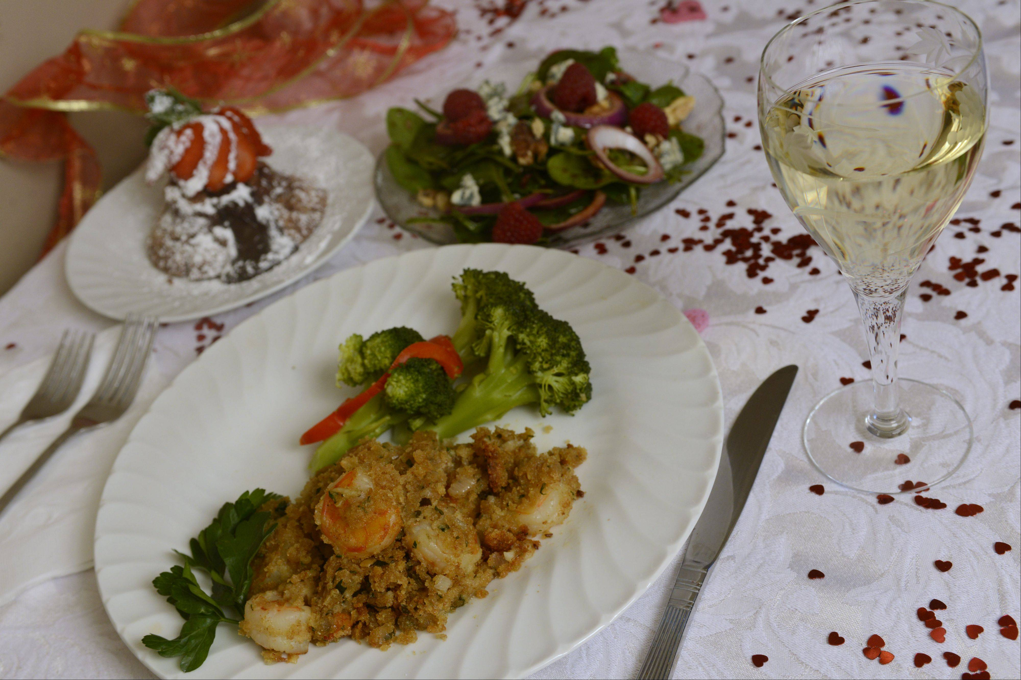 Shrimp de Jonghe is the centerpiece of a the Valentine�s Day meal Leslie Abbey cooks up for her loved ones.