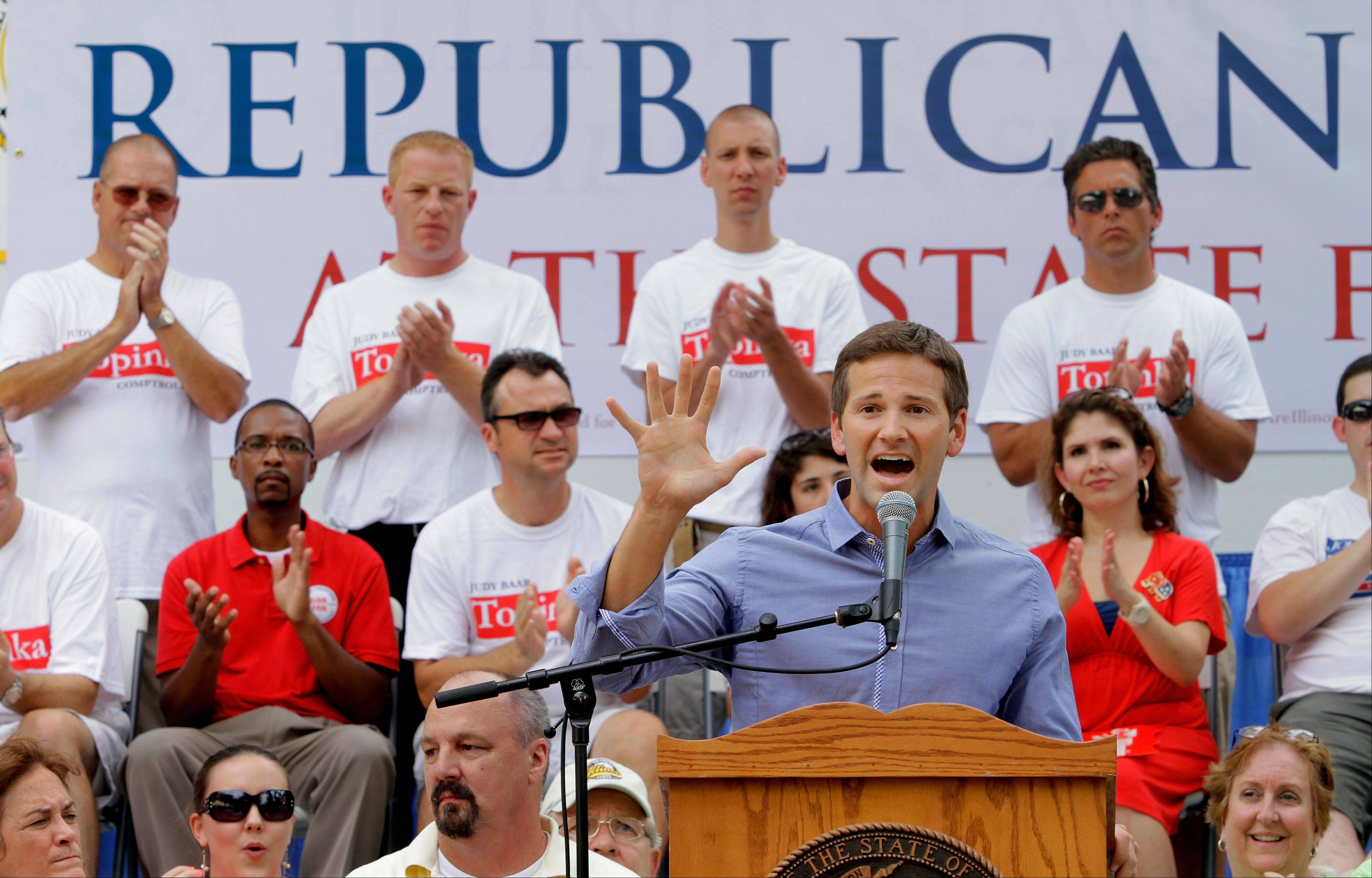 Congressman Aaron Schock of Peoria participates in a rally during Republican Day at the Illinois State Fair in 2011. He�s being investigated by the House Ethics Committee.