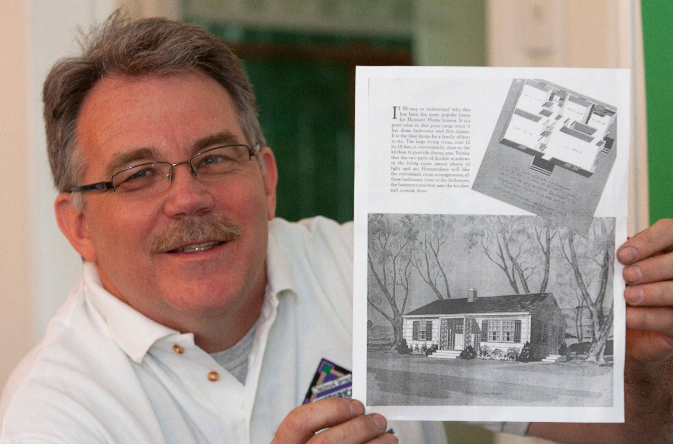 Oakbrook Terrace Historical Society board member Bob Shanahan shows the plan for how the Sears Roebuck Homart home originally looked when it was built in 1950-51 by the family of former city clerk Lorraine Fik.