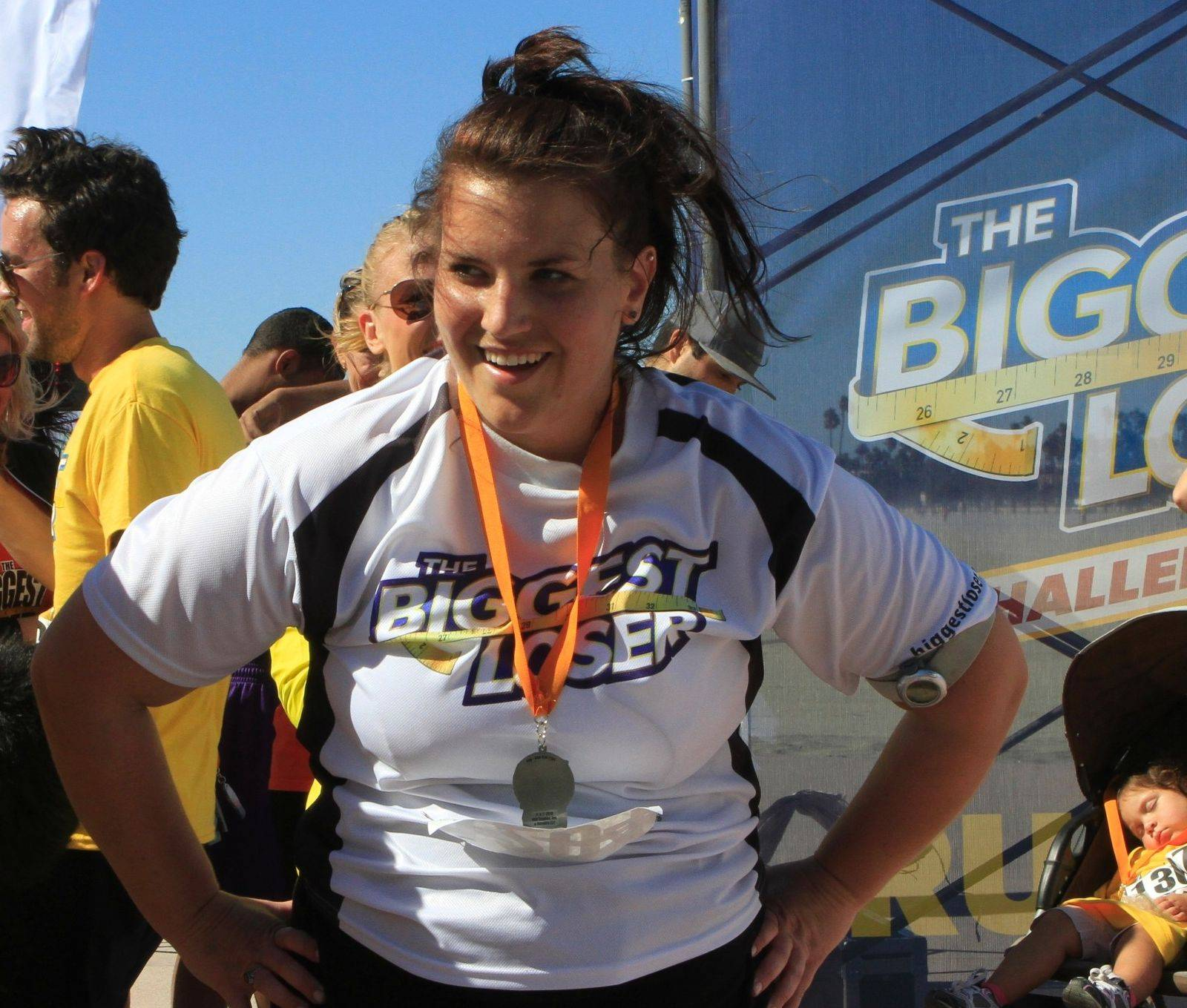 "Wheeling resident Danni Allen celebrates on a recent episode of ""The Biggest Loser,"" which airs Monday nights on NBC."