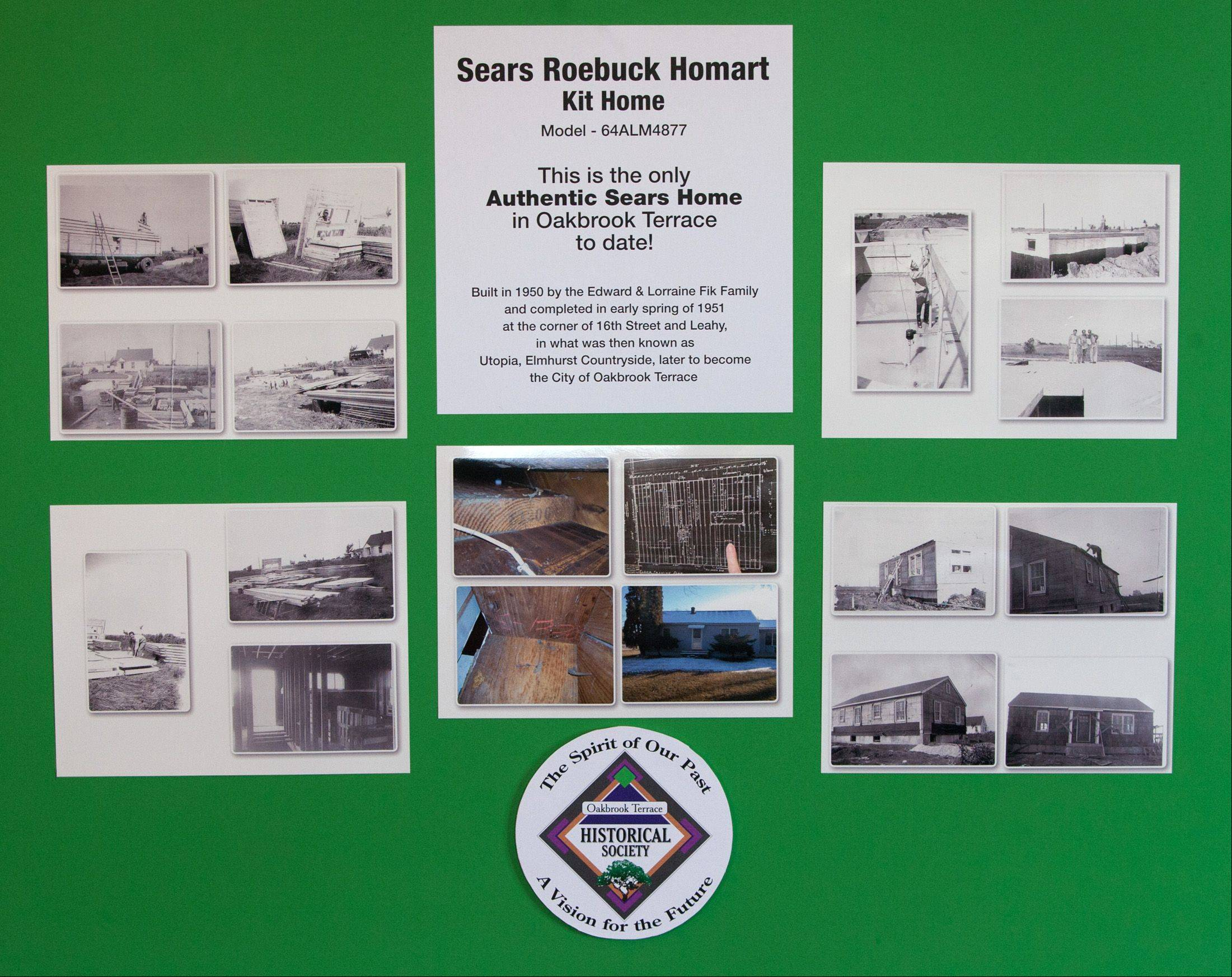 This poster board shows a Sears Roebuck Homart kit home being delivered and built in Oakbrook Terrace.