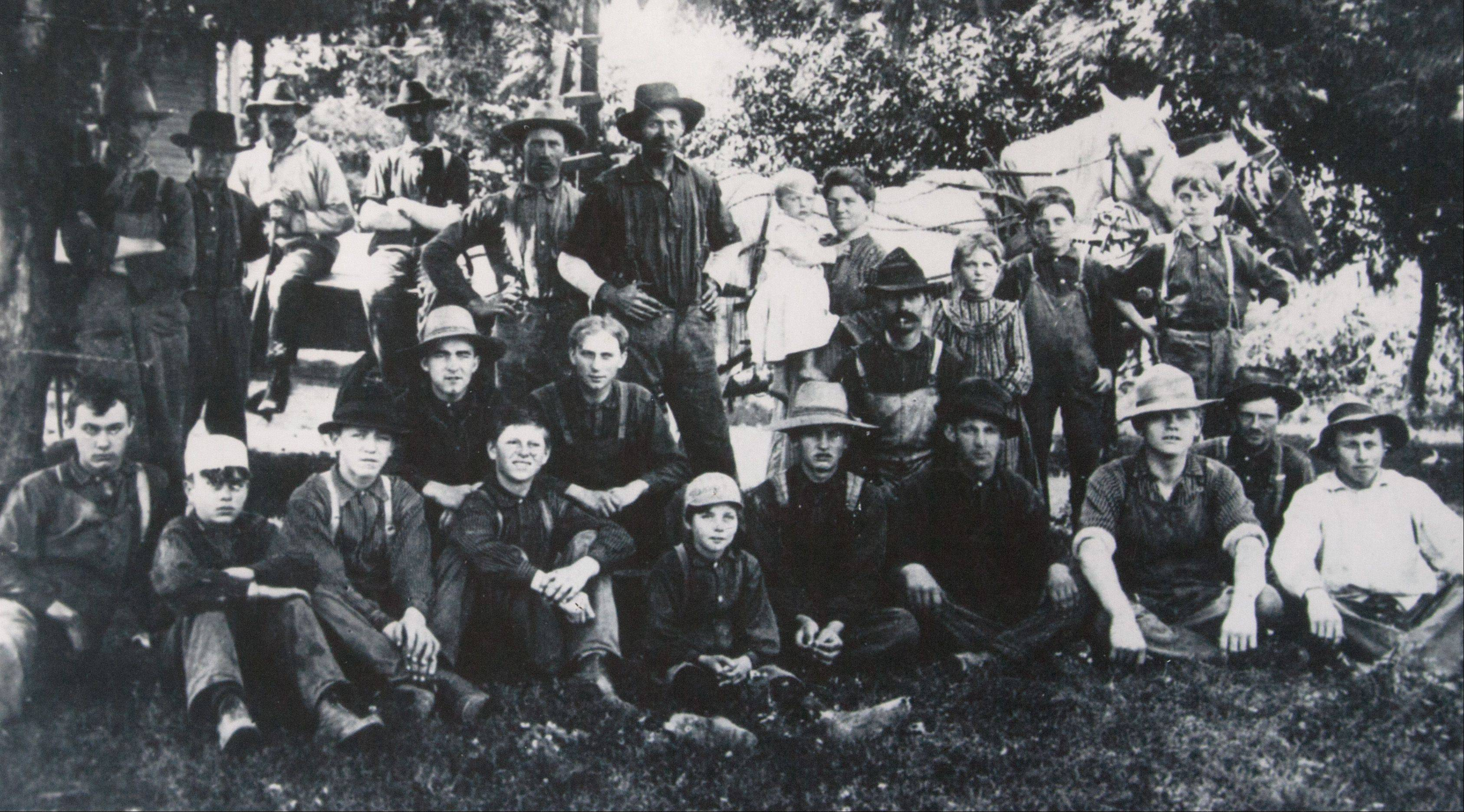 This photo of the threshing crew on Brinkmann farm in 1904 was sent by Fritz Brinkmann's grandson who now lives in Wisconsin. The farmhouse stood at the site of the current Oakbrook Terrace city hall.
