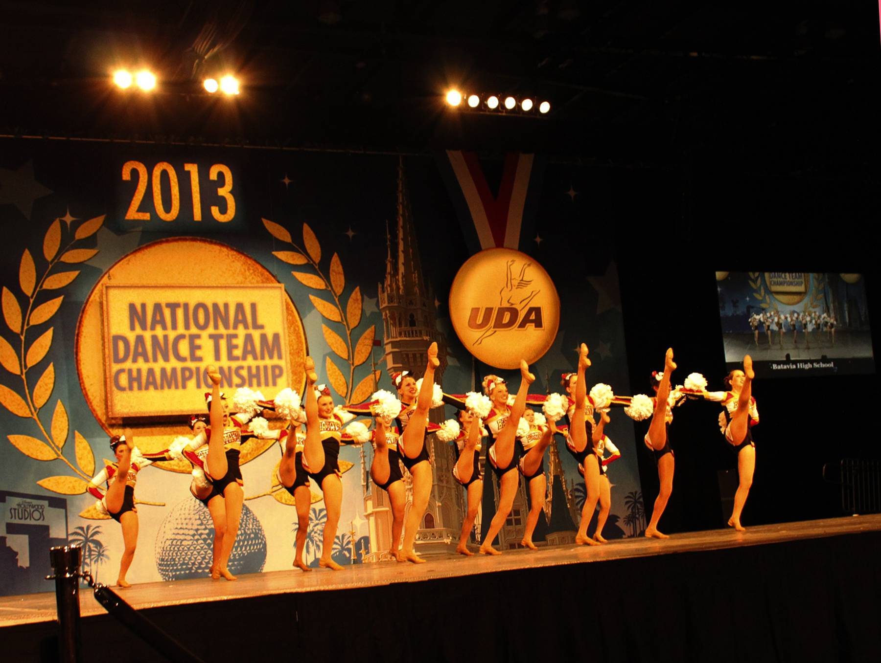 BHS Varsity Dance Team Performing Pom routine, advancing to semi-finals, at 2013 UDA Nationals in ESPN Wide World of Sports Complex in Walt Disney World Resort in Orlando, FL Feb 2.