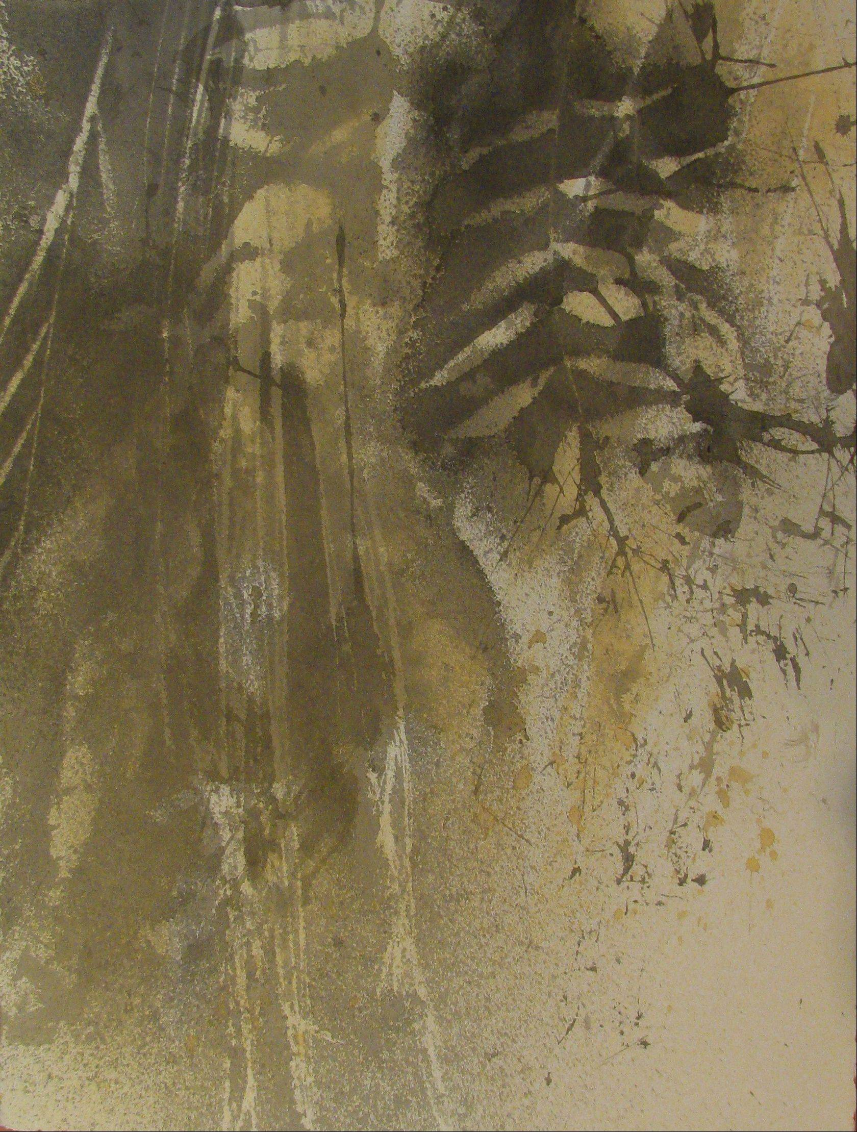 """After the Fall I,"" ink, plant juice, salt, ash, and wind assisted art, by Yvonne Beckway"