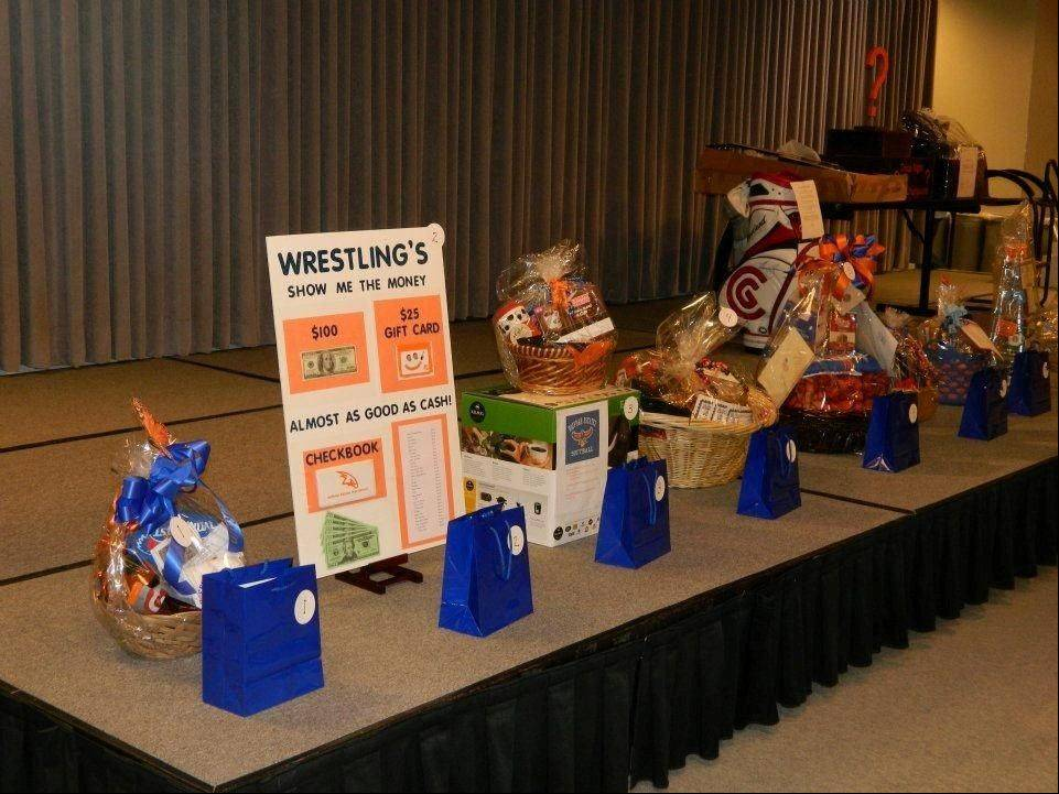 This is an example of baskets put together by students in various organizations that are auctioned on Trivia/Game Night.