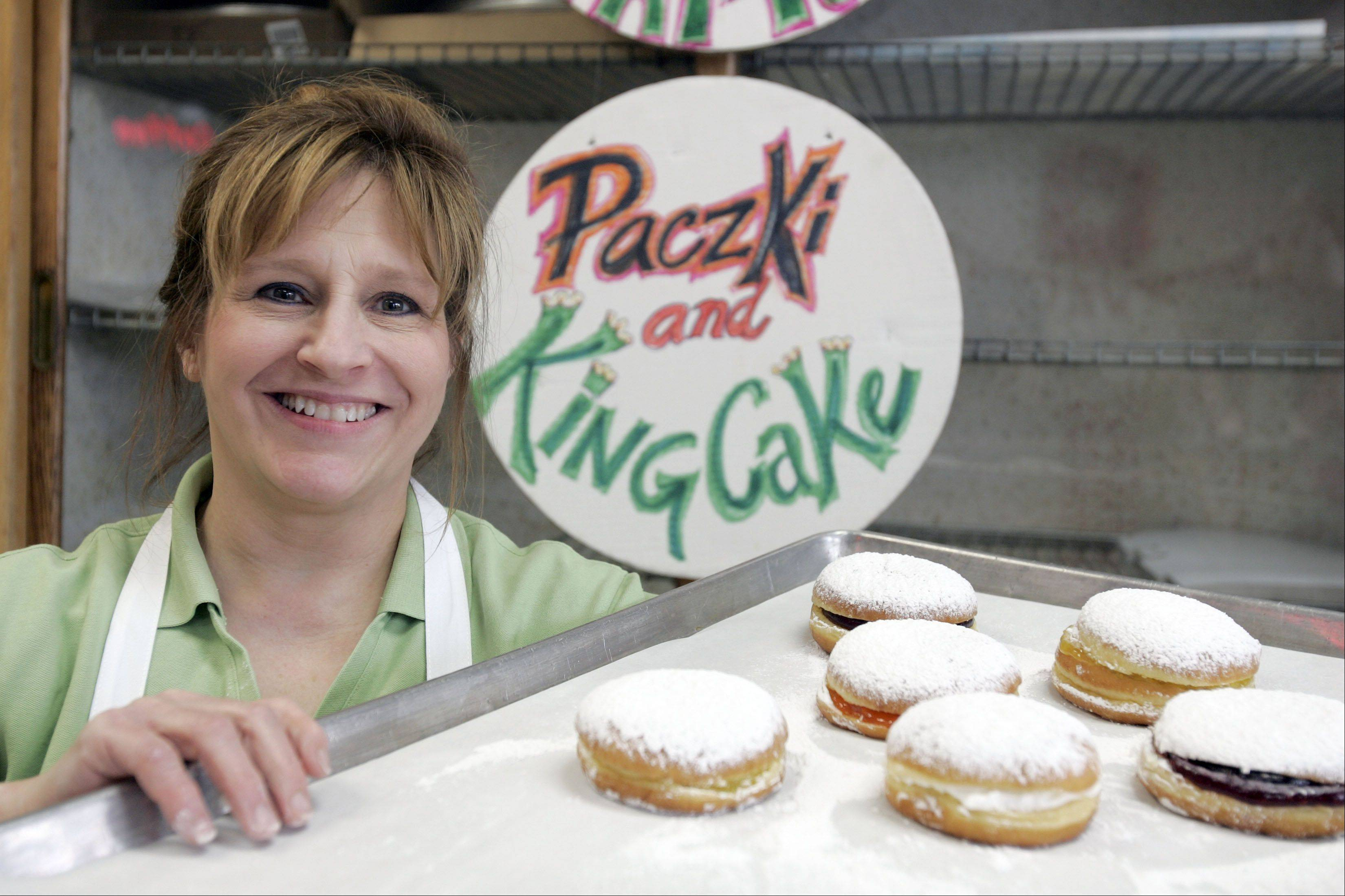 Heidi Anderson with a sampling of Paczki, which will fly off the shelves on Fat Tuesday. Her bakery, Heidi�s, is on the east side of Geneva.