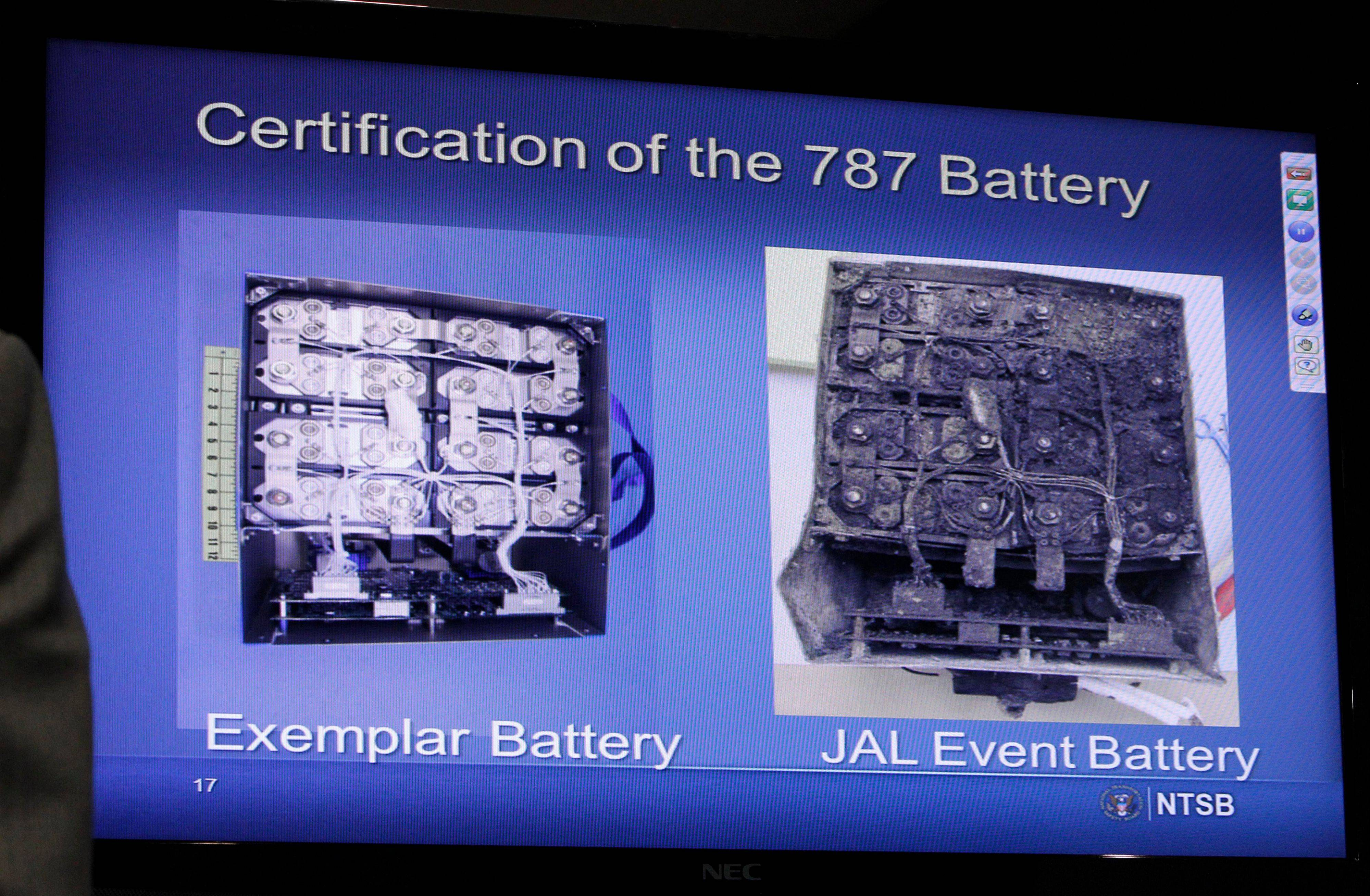 This slide shown on a video screen during a news conference at the National Transportation Safety Board in Washington Thursday shows a comparison of an exemplar battery with the Japan Airlines Boeing 787 battery.