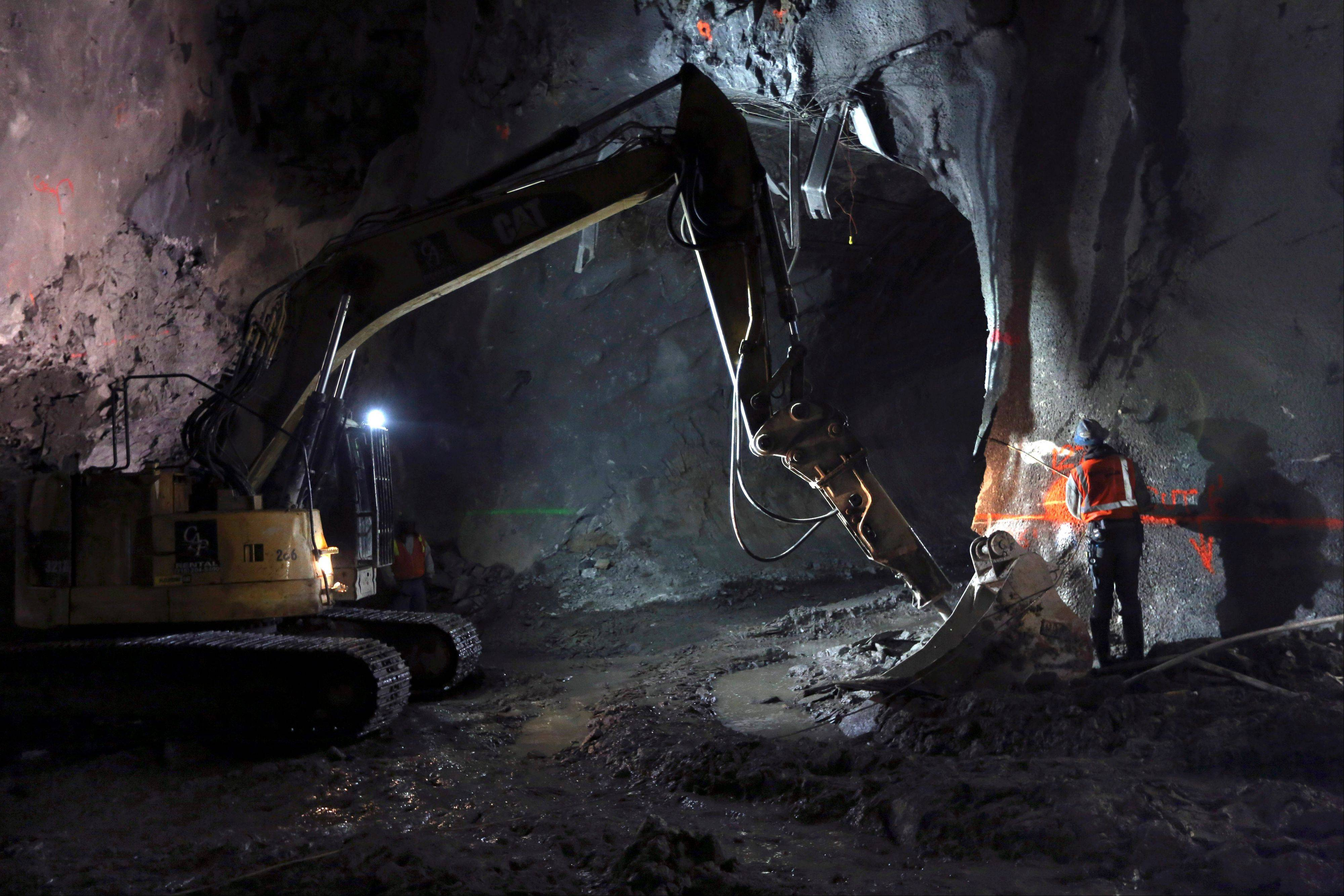 Contractors work on the East Side Access project beneath midtown Manhattan, in New York.