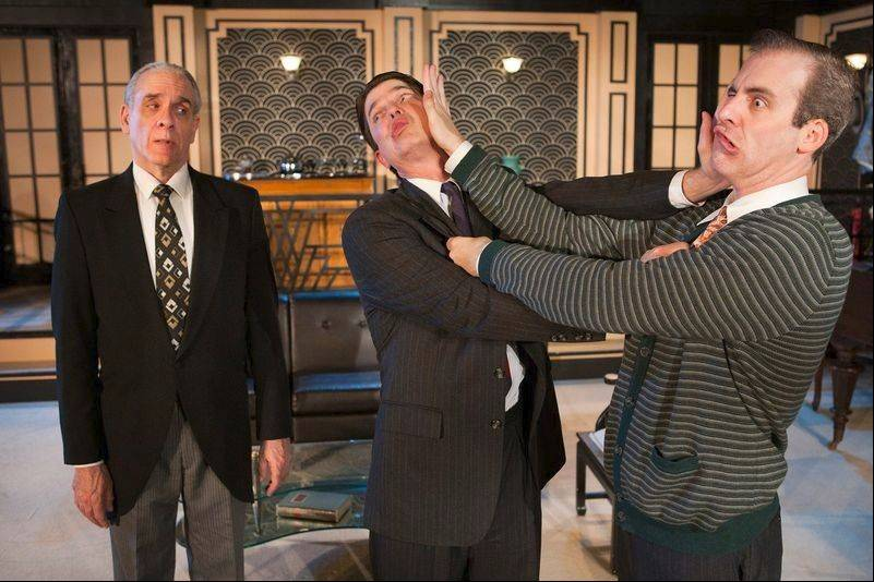 "The impeccable comic trio of Jim McCance, left, Christian Gray, center, and Kevin McKillip, star in First Folio Theatre's farcical ""Jeeves Takes a Bow."""