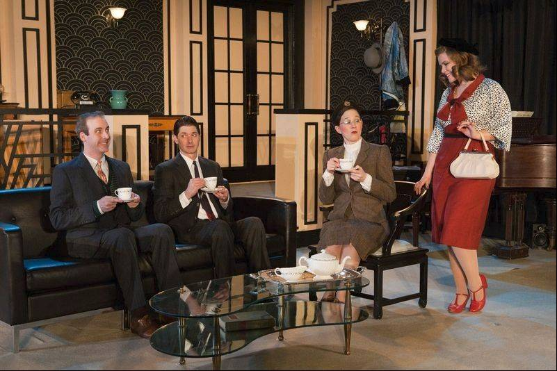 "Bertie (Christian Gray, second from left) and Binky (Kevin McKillip, left) chat with Broadway hopeful Ruby (Jennifer Shine, right) and bookish Vivienne (Lydia Berger Gray, second from right) in ""Jeeves Takes a Bow,"" running through March 3 at First Folio Theatre in Oak Brook."