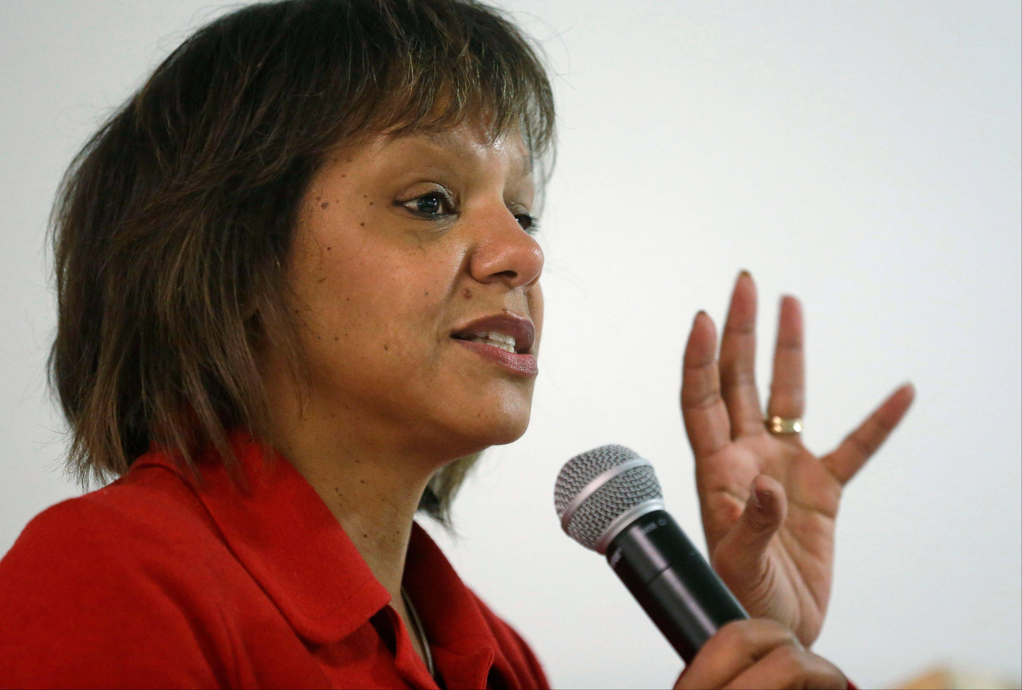 Former state legislator Robin Kelly speaks to the International Ministers & Community Alliance Thursday in Chicago after receiving the group's endorsement in her bid to replace former U.S. Rep. Jesse Jackson Jr.