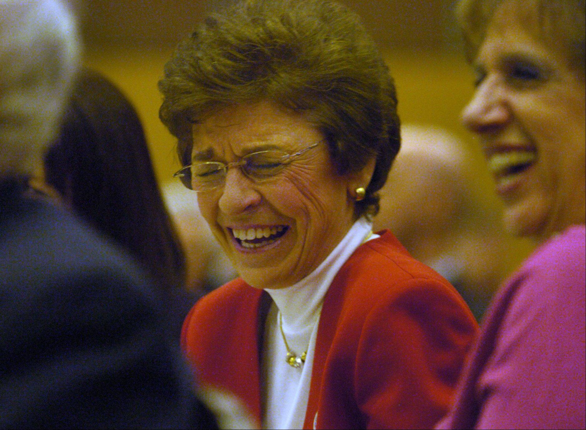 Arlene Mulder shares a laugh during her final Mayor's 26th annual Community Prayer Breakfast. Mulder, who's presided over the event for 20 years, is retiring in April.