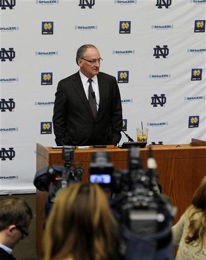 Notre Dame will stay in the Big East for at least one more season. Athletic director Jack Swarbrick said Thursday the university would like to leave the Big East for the Atlantic Coast Conference before the required 27 months' notice for departing members, but was unable to reach an agreement to do so before next season.