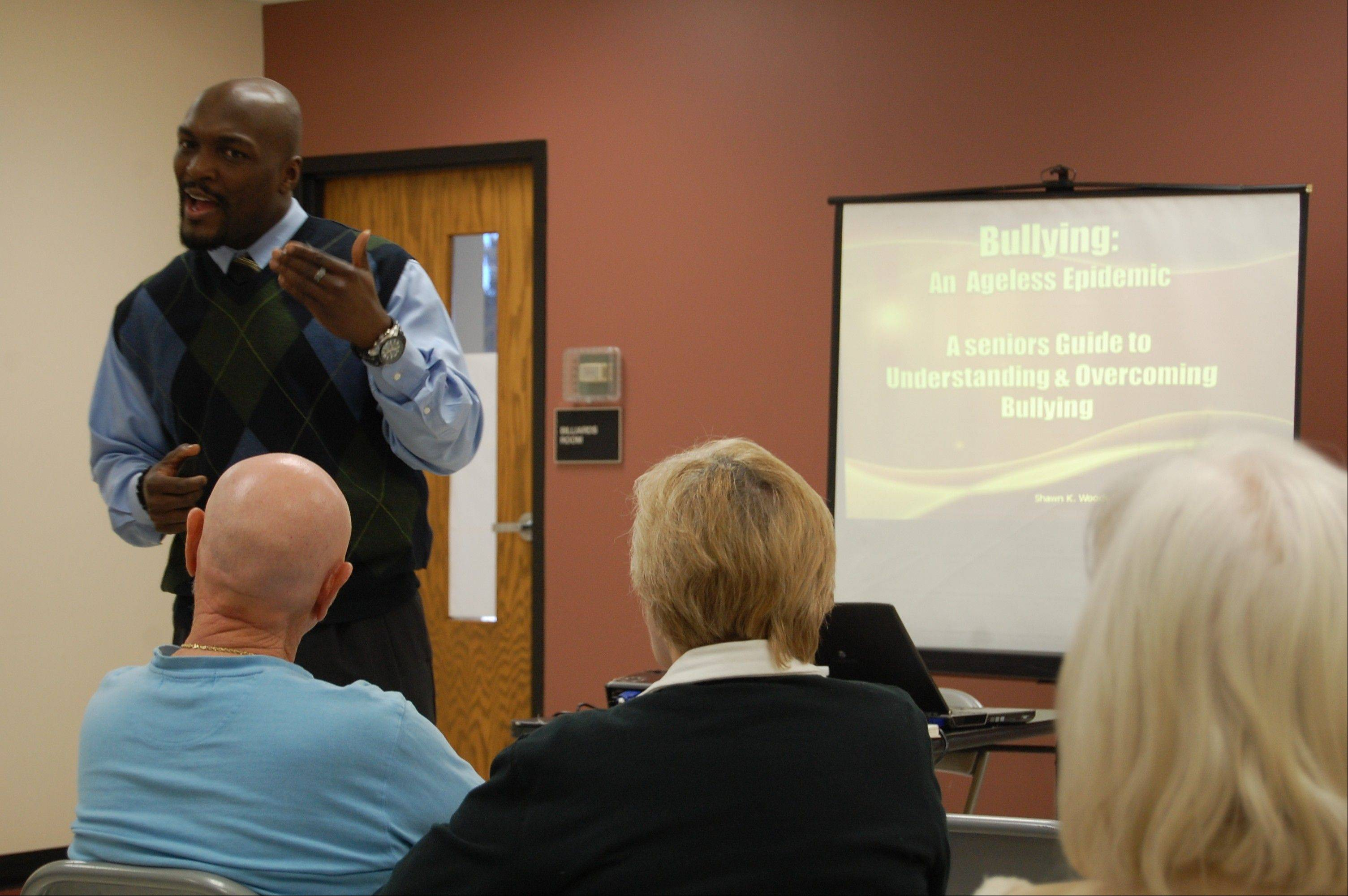 Shawn K. Woods, personal and professional development expert, speaks at a Hoffman Estates Park District lunch-and-learn session.