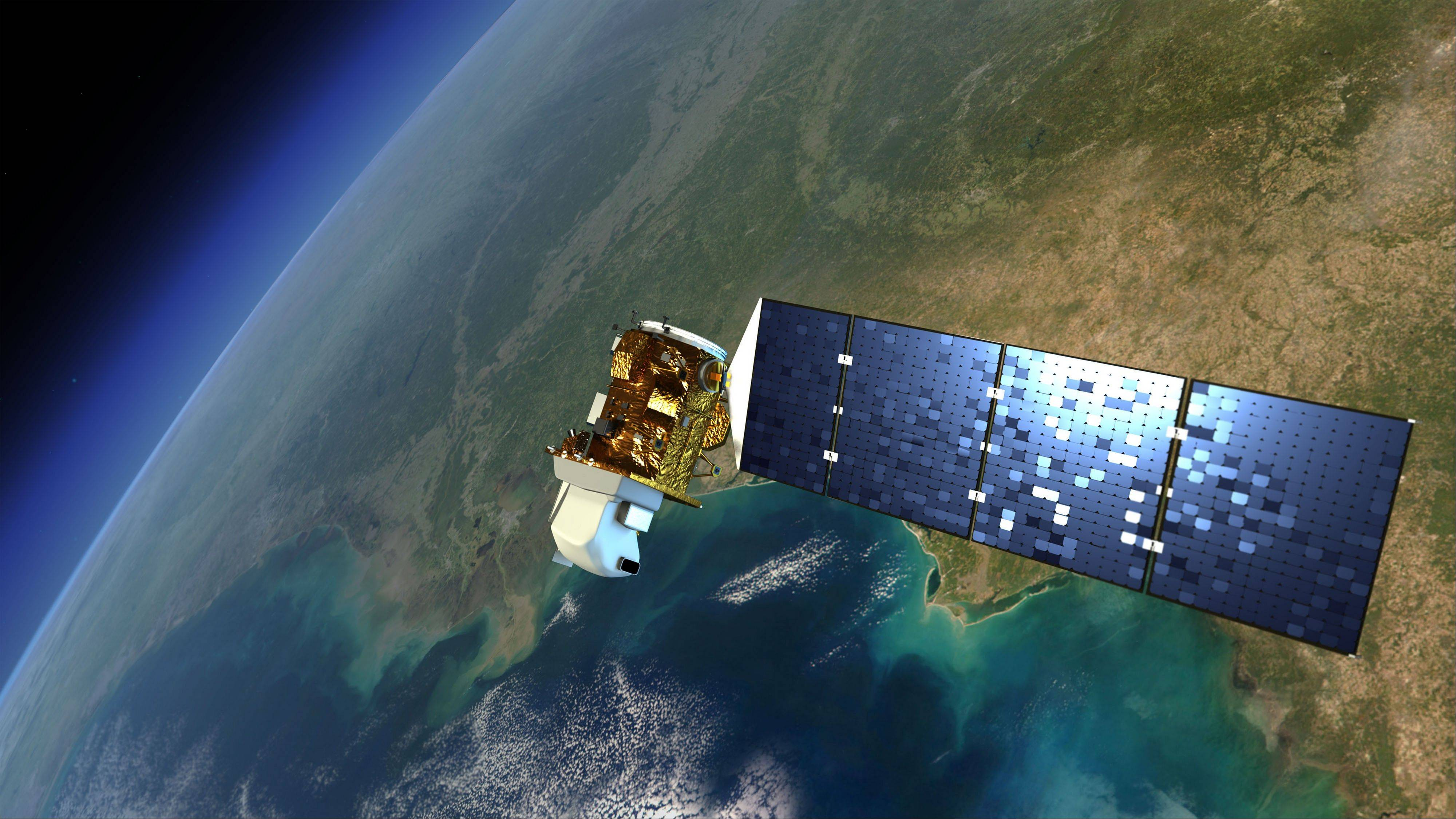 This sketch shows the Landsat satellite in orbit around Earth.
