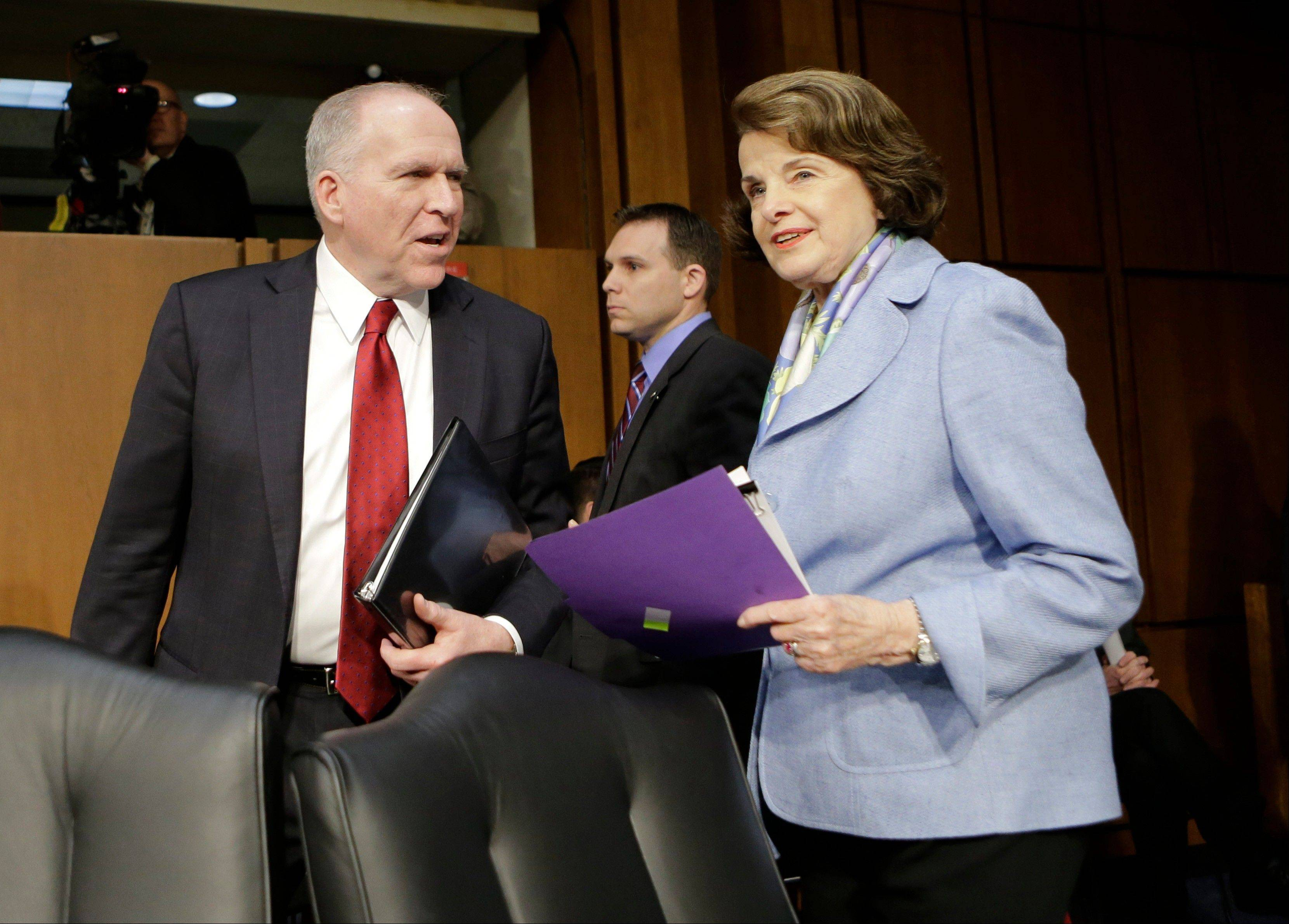 Associated Press/Feb. 7, 2013 Senate Intelligence Committee Chair Sen. Dianne Feinstein, D-Calif., right, welcomes CIA Director nominee John Brennan on Capitol Hill in Washington.