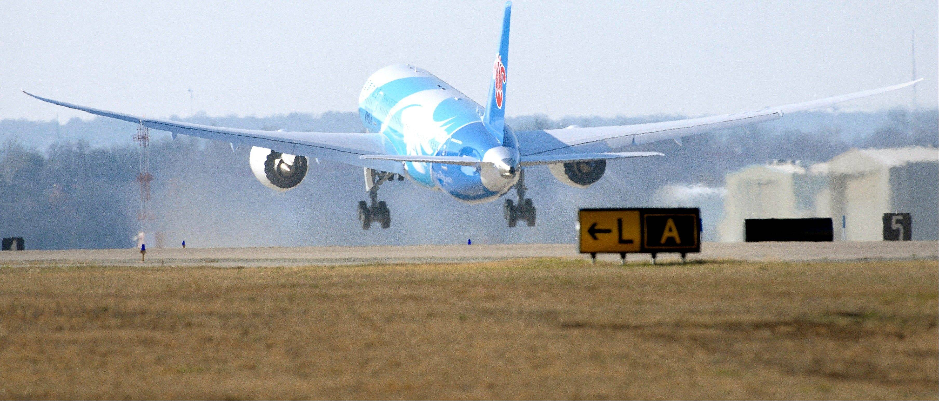 A Boeing 787 jet that has been at Meacham International Airport in Fort Worth, Texas for about a month while being painted for China Southern, takes off Thursday.