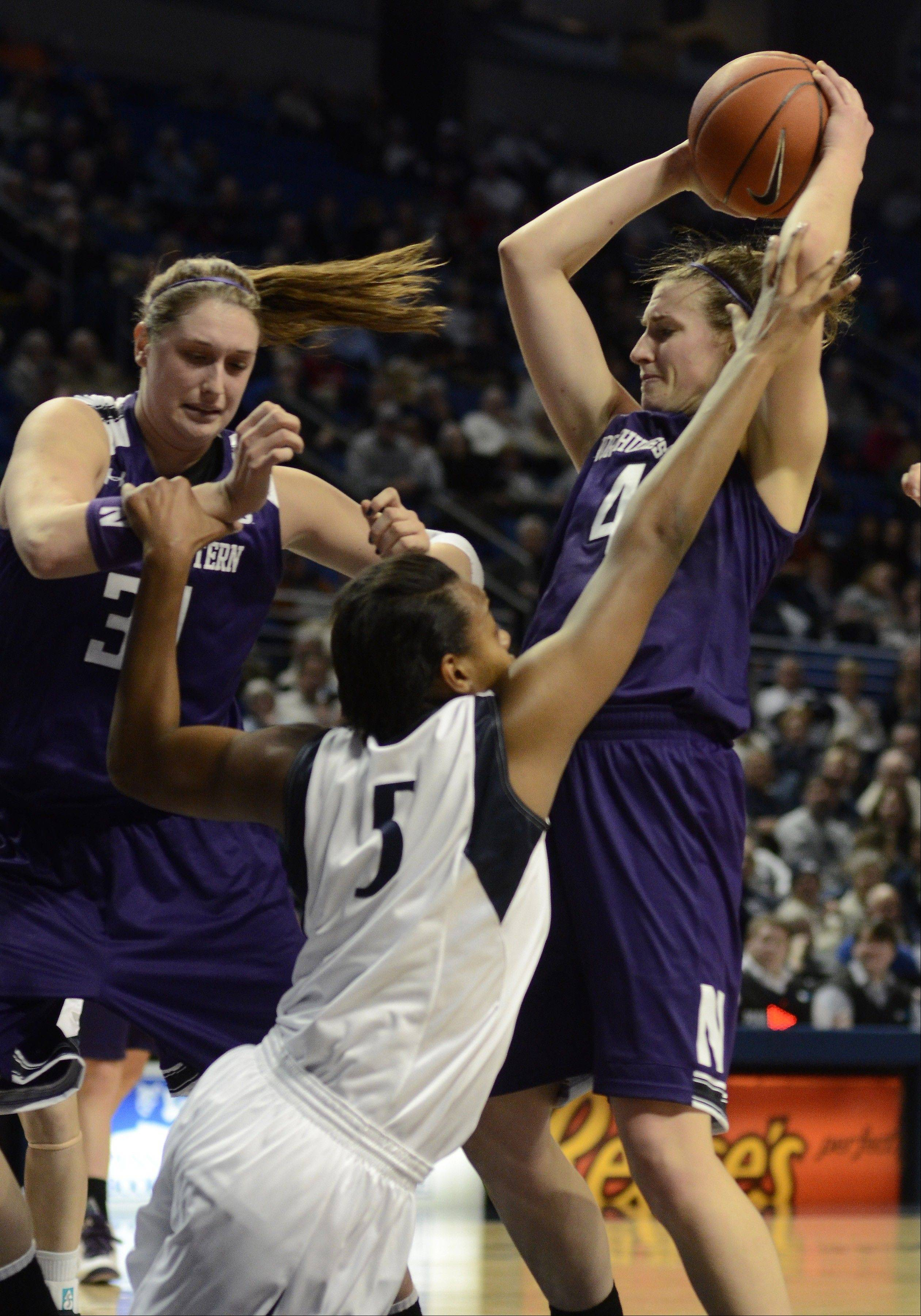 Northwestern, shown here in action against Penn State on Jan. 3, won't have to travel far to play in the Big Ten women's tournament, which will start March 7 at the Sears Centre Arena in Hoffman Estates.