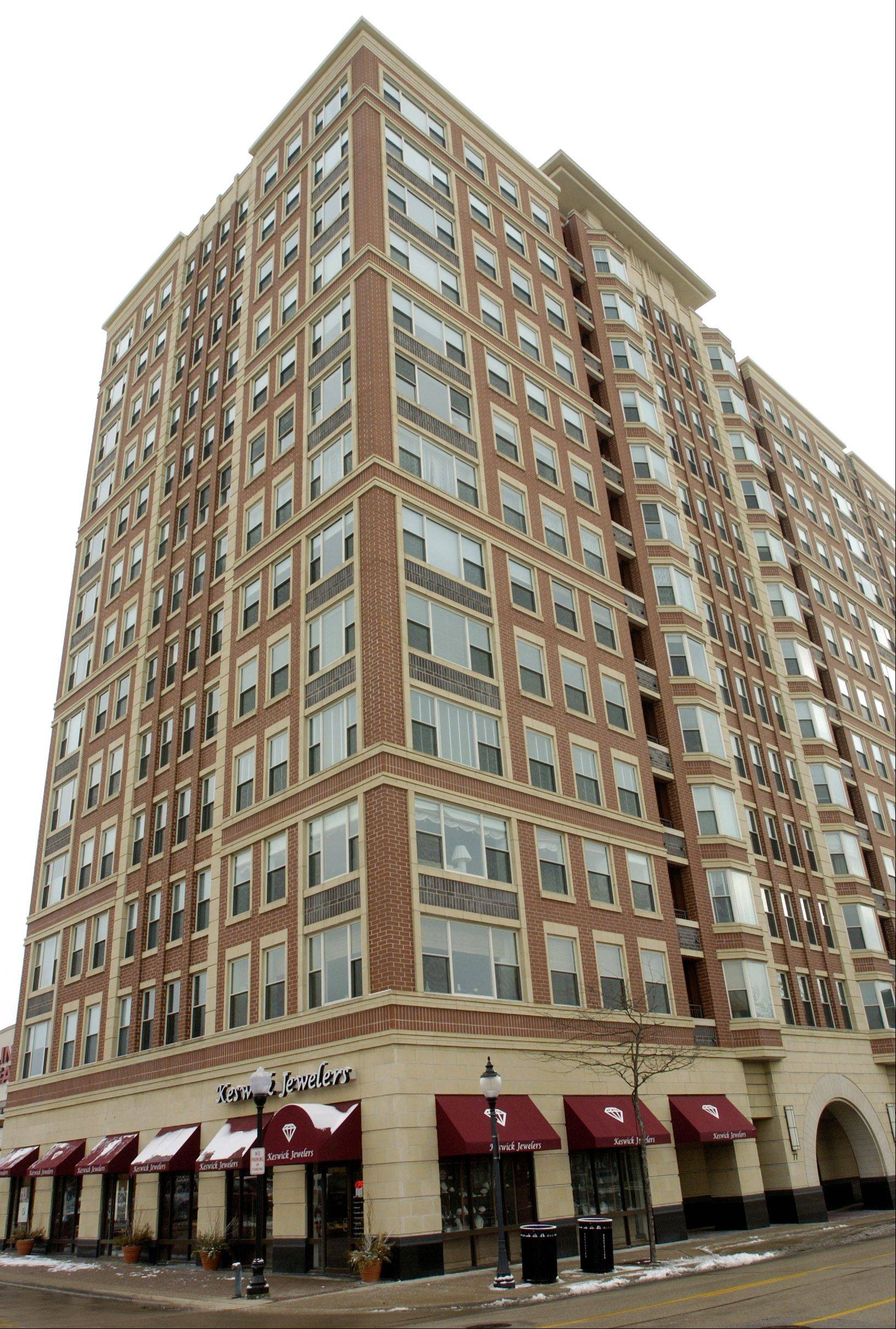 The Evergreen building, 77 S. Evergreen Ave., is one of several mid-rise condo buildings in downtown Arlington Heights.