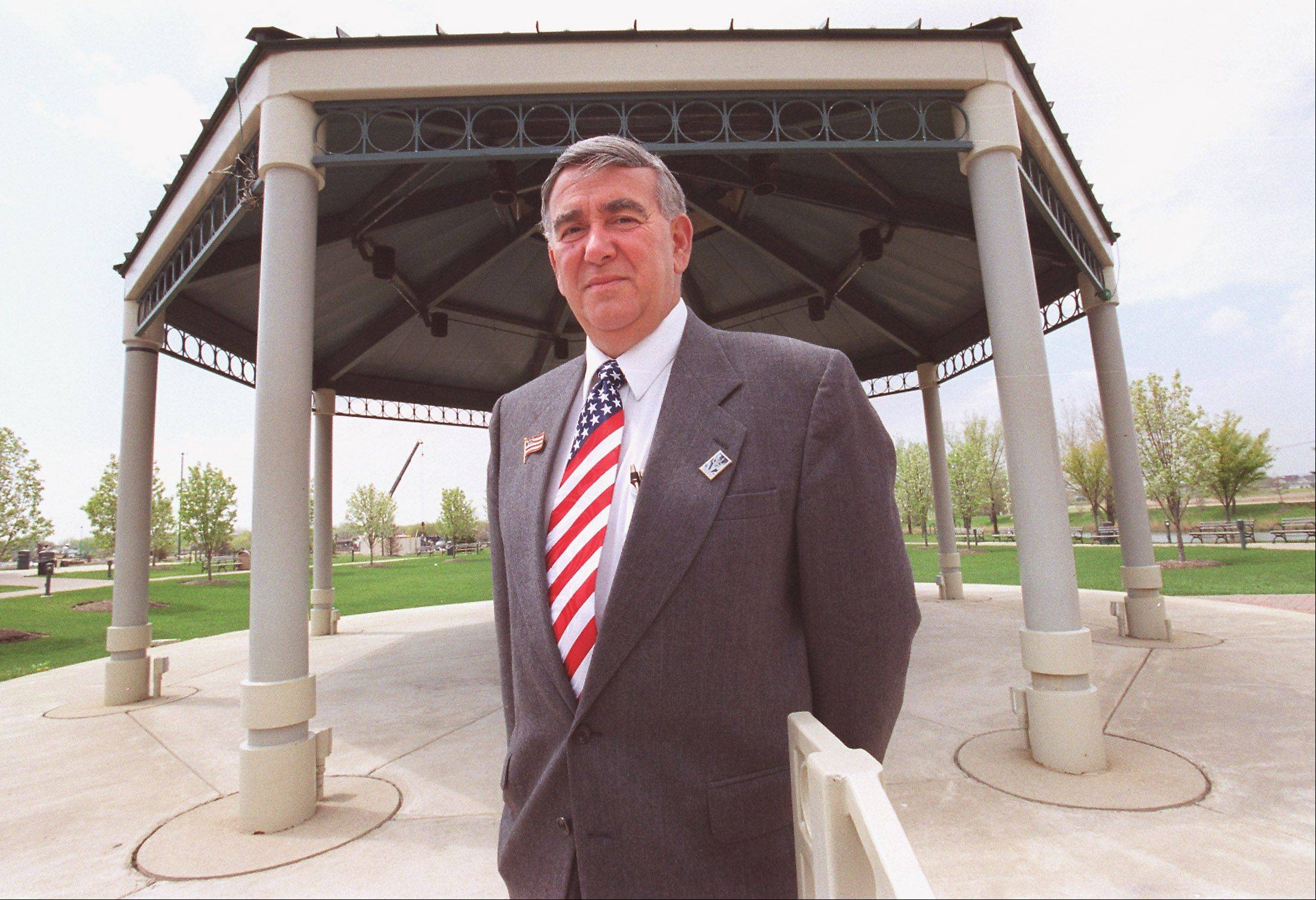 Former Carol Stream Village President Ross Ferraro has been credited with having the idea to create the Town Center, and officials decided in 2004 to name it after him. But it's possible his name could now be coming off two identification signs on site.