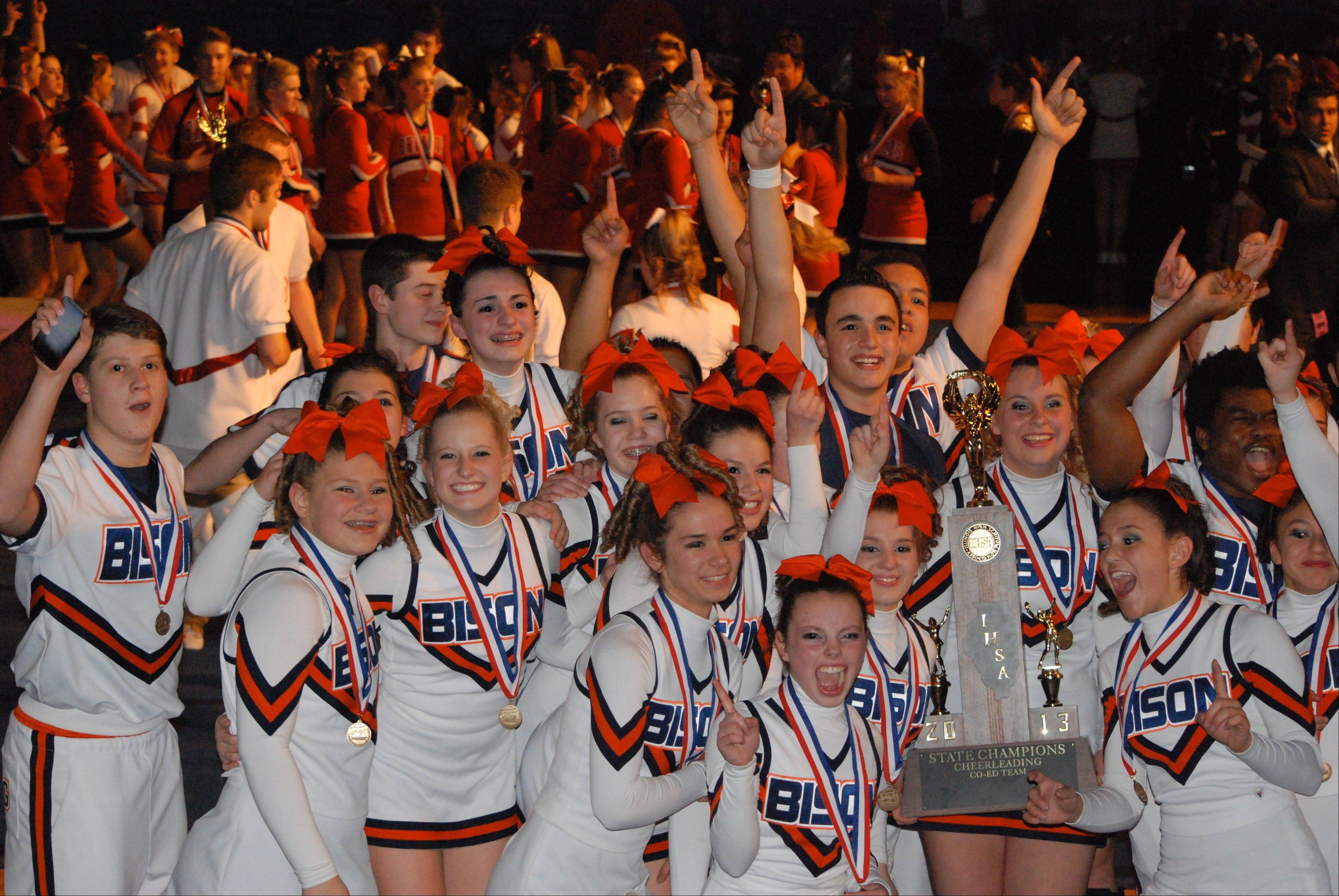 Buffalo Grove High School coed varsity cheerleaders celebrate their 2013 IHSA State Championship win at Bloomington on Feb. 2.