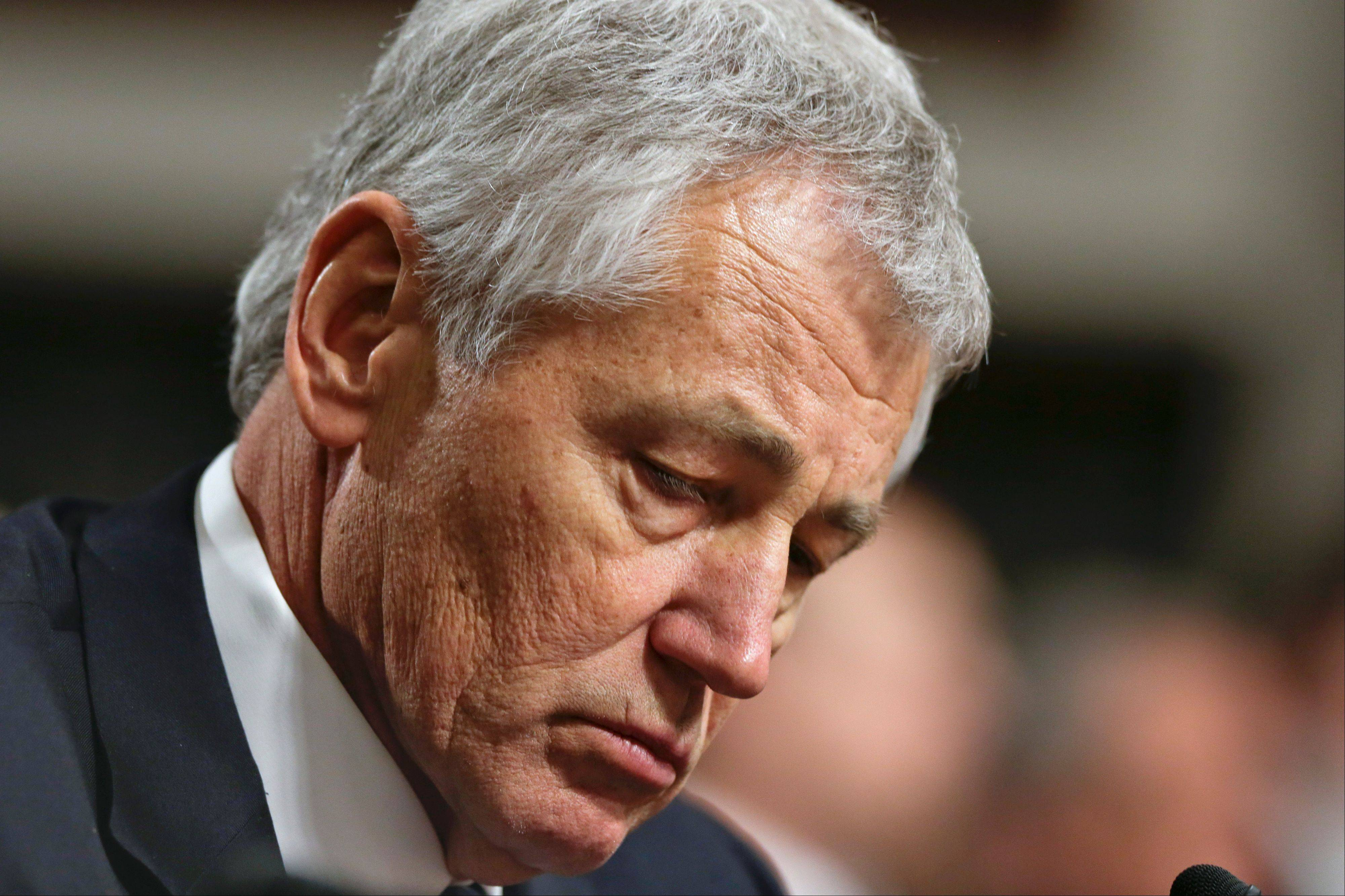 Republican Chuck Hagel, a former two-term GOP senator from Nebraska and President Obama's choice for Defense Secretary, testifies before the Senate Armed Services Committee during his confirmation hearing on Capitol Hill in Washington.