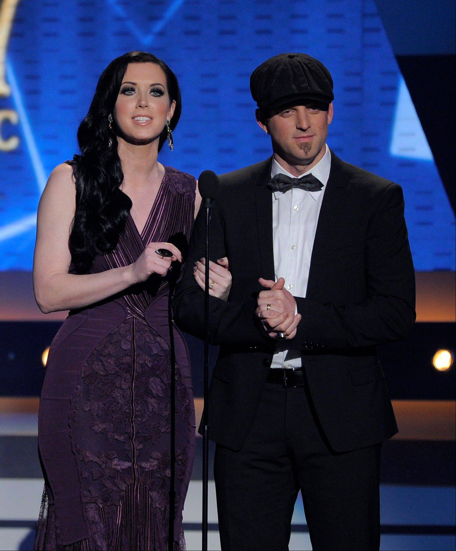 Shawna Thompson, left, and Keifer Thompson of Thompson Square appear at the 47th annual Academy of Country Music Awards on April 1, 2012, in Las Vegas. This summer, Thompson Square will play at the Illinois State Fair on Aug. 16.