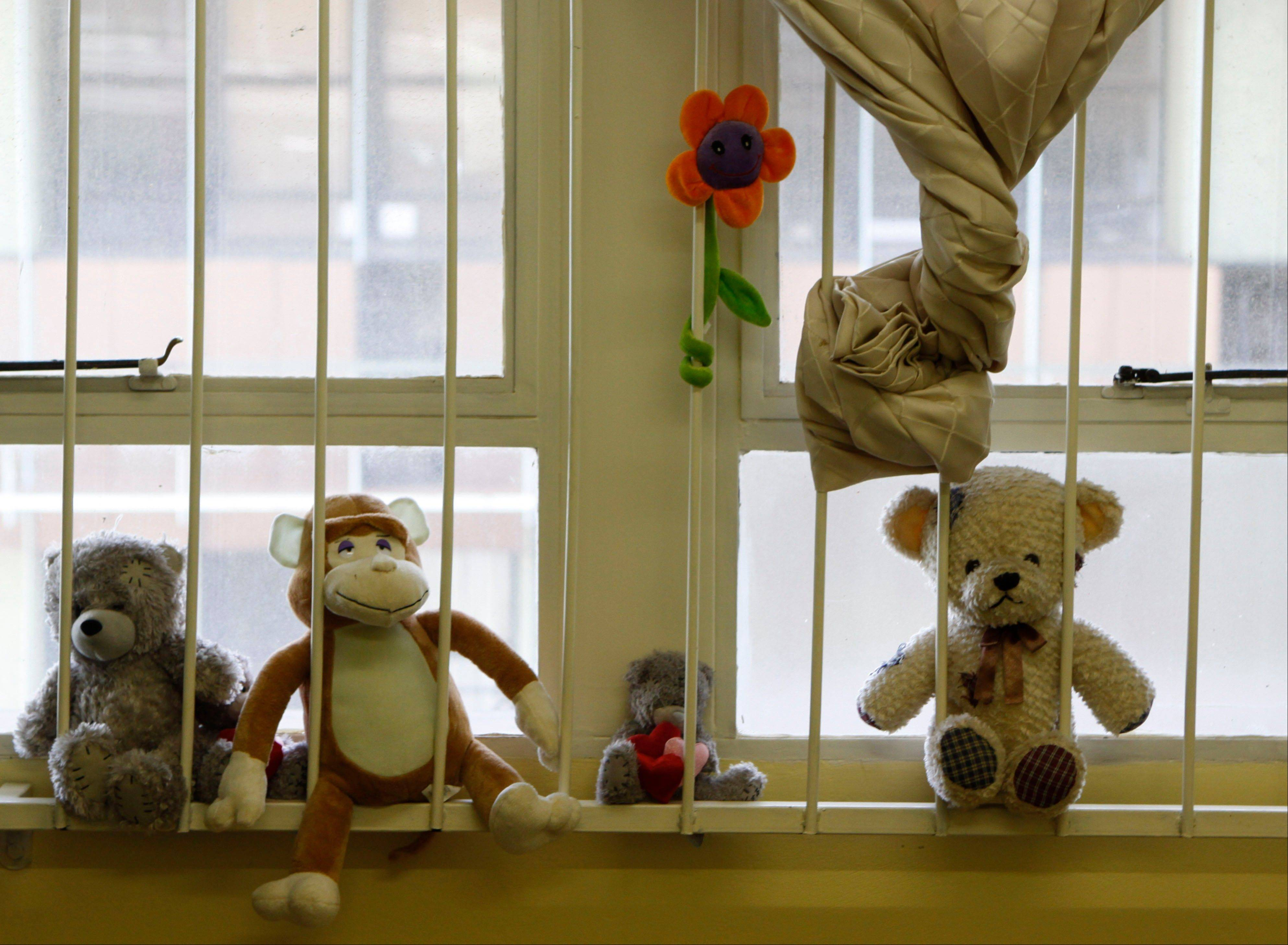 Soft toys are placed on a windowsill at the Teddy Bear Clinic, where abused children are treated, in Johannesburg, Friday, Feb. 8, 2013. In a country where one in four women are raped and where months-old babies and 94-year-old grandmothers are sexually assaulted, citizens are demanding action after a teenager was gang-raped, sliced open from her stomach to her genitals, and left for dead on a construction site last week.