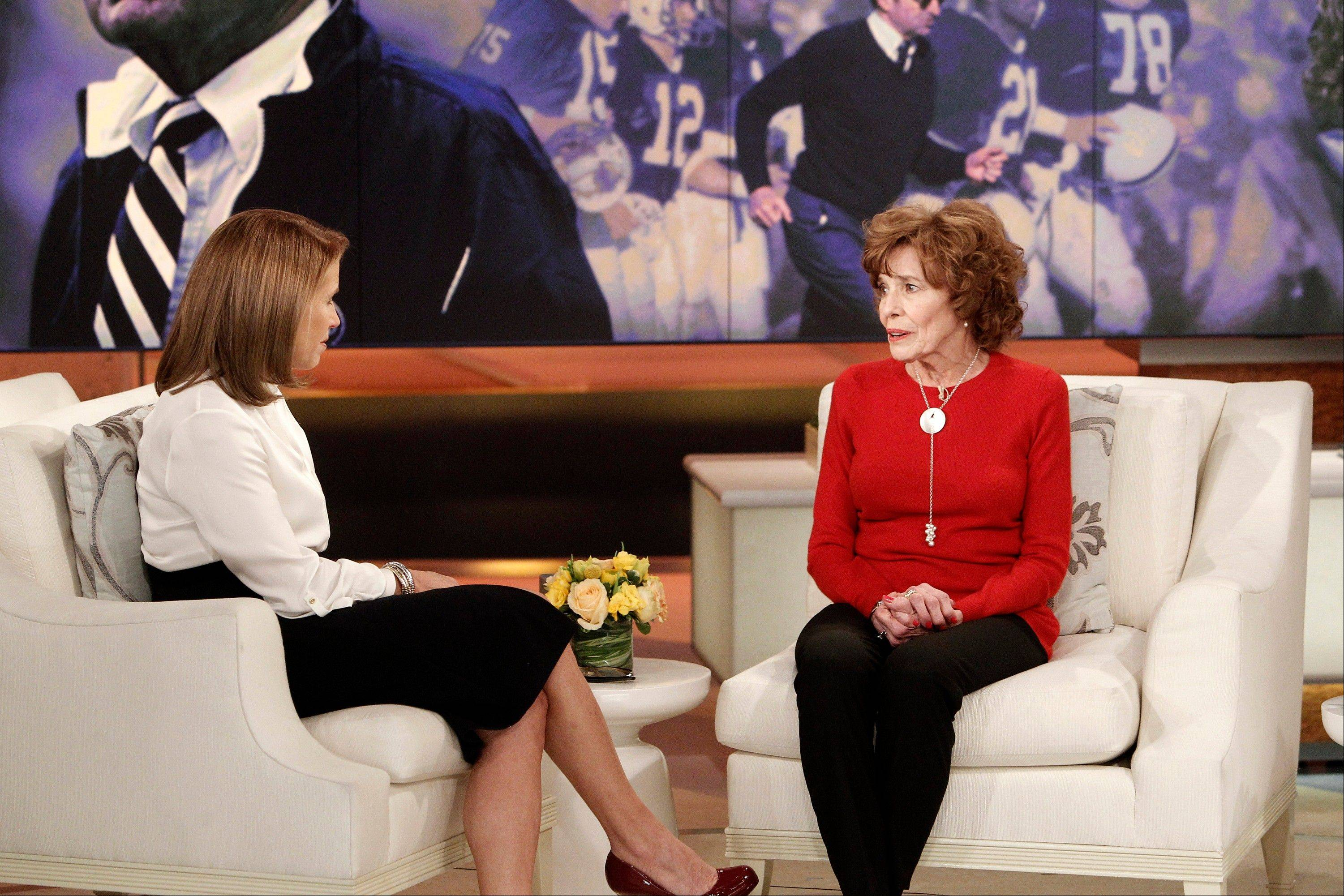 "This Feb. 6, 2013 photo released by ABC shows Sue Paterno, widow of legendary football coach Joe Paterno, right, with Katie Couric for an exclusive interview for the ""Katie"" show in New York. Paterno is fighting back against the accusations against her hus"
