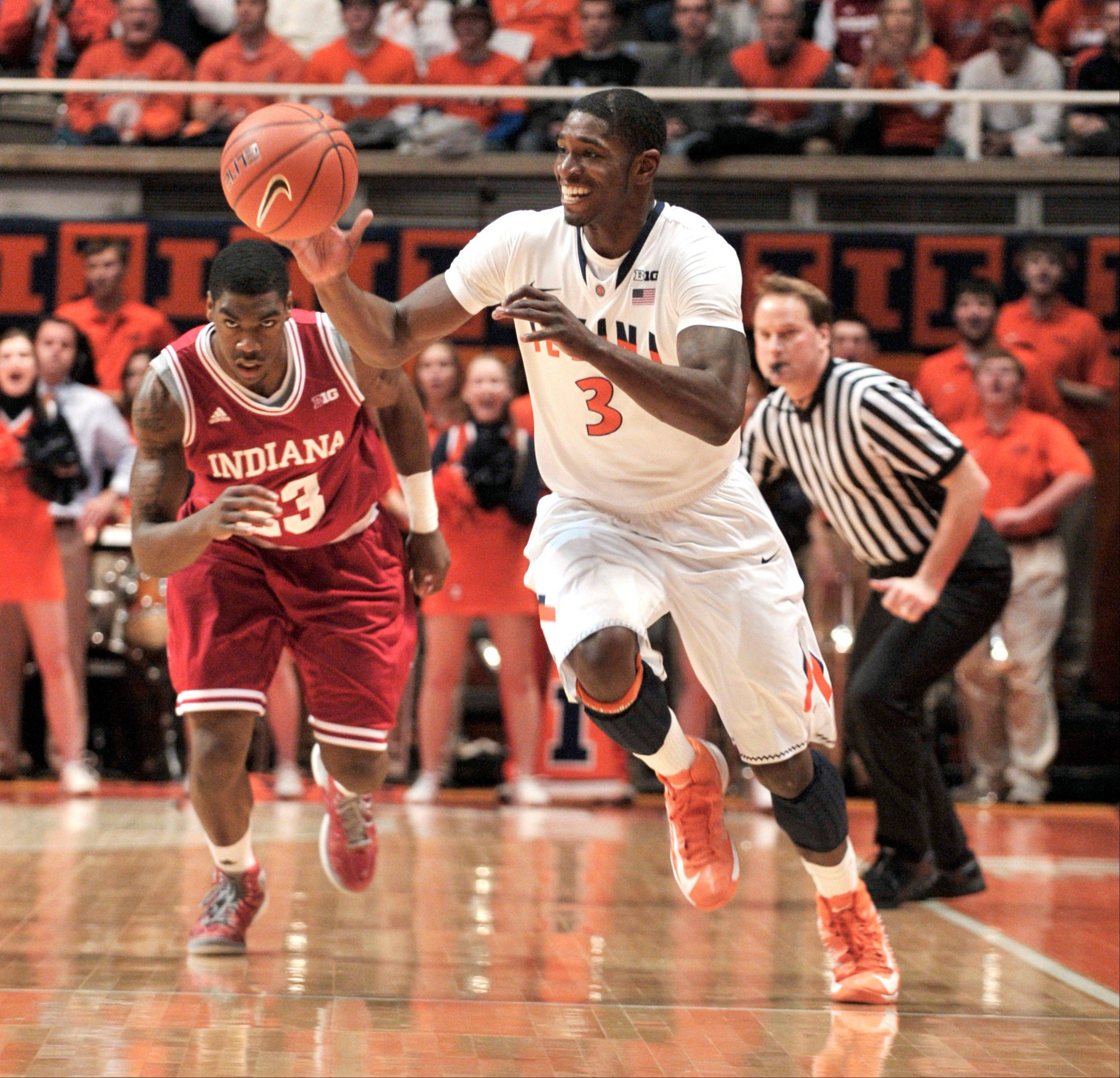 Illinois' Brandon Paul steals the ball in front of Indiana's Remy Abell on Thursday. Paul scored some critical free throws in the closing minutes to help beat No. 1 Indiana.