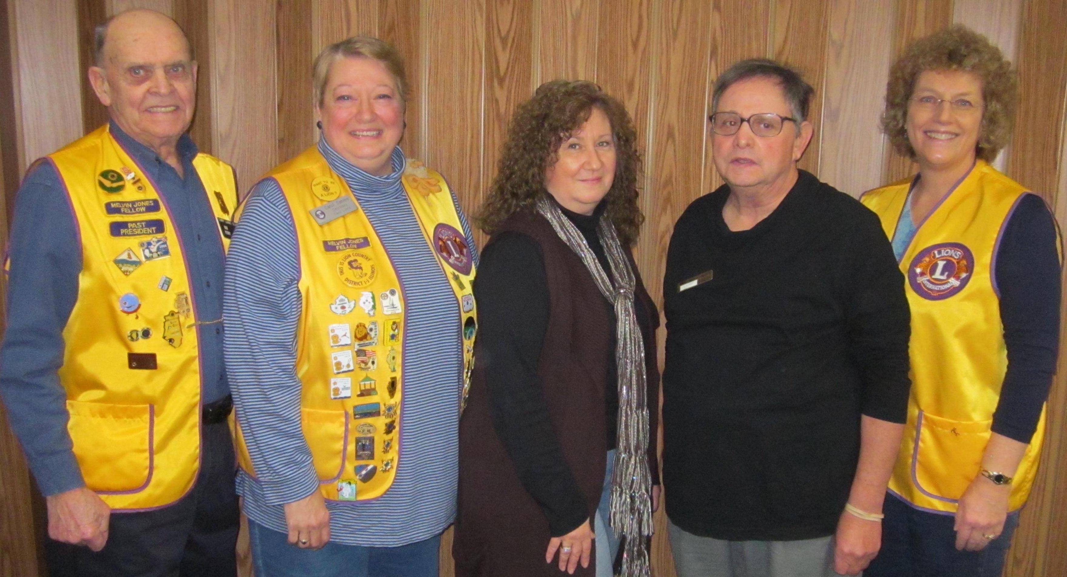 Pictured from left are Lions Bob Perry (45 years), Carol Santee (35 years), Angie Keys (25 years), Jeff Cooper (30 years) and Kathy Young (25 years)