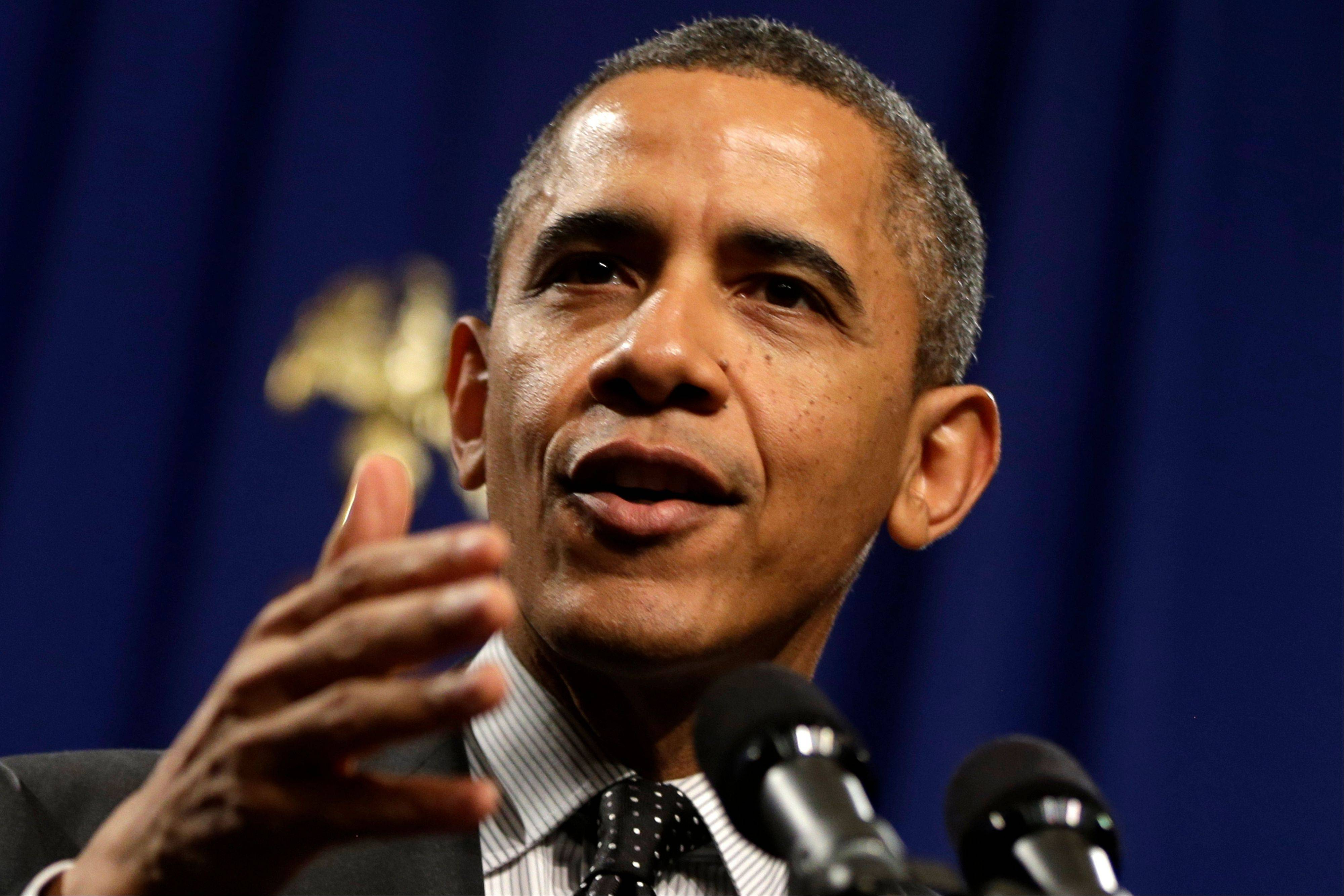 In this Feb. 7 file photo, President Barack Obama speaks at the House Democratic Issues Conference in Lansdowne, Va. For all of his liberal positions on the environment, taxes and health care, Obama is a hawk when it comes to the war on terror.