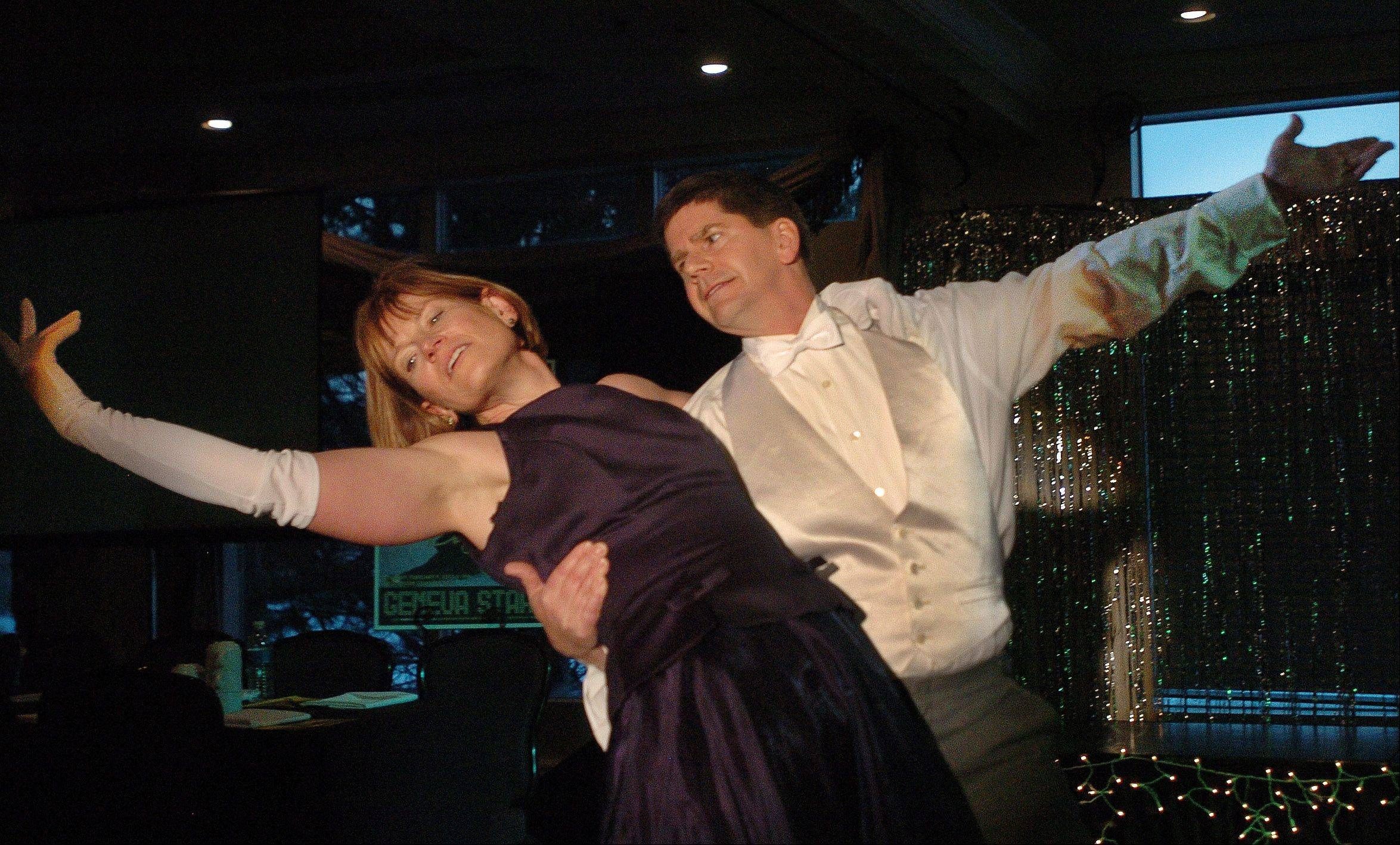 "Steve and Lynn Saunders rehearse their Waltz number for ""Dancing With The Geneva Stars."""