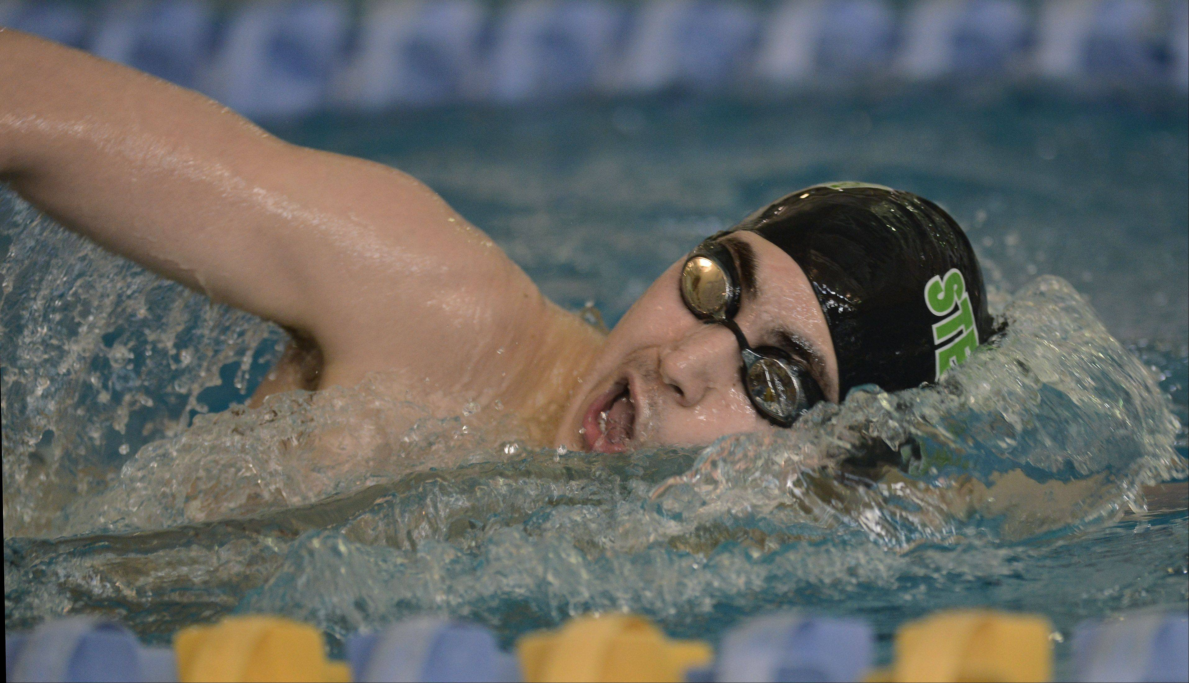 Stevenson's Nick Koto swims the 200-yard freestyle during the North Suburban Conference boys swim meet at Lake Forest High School Saturday.