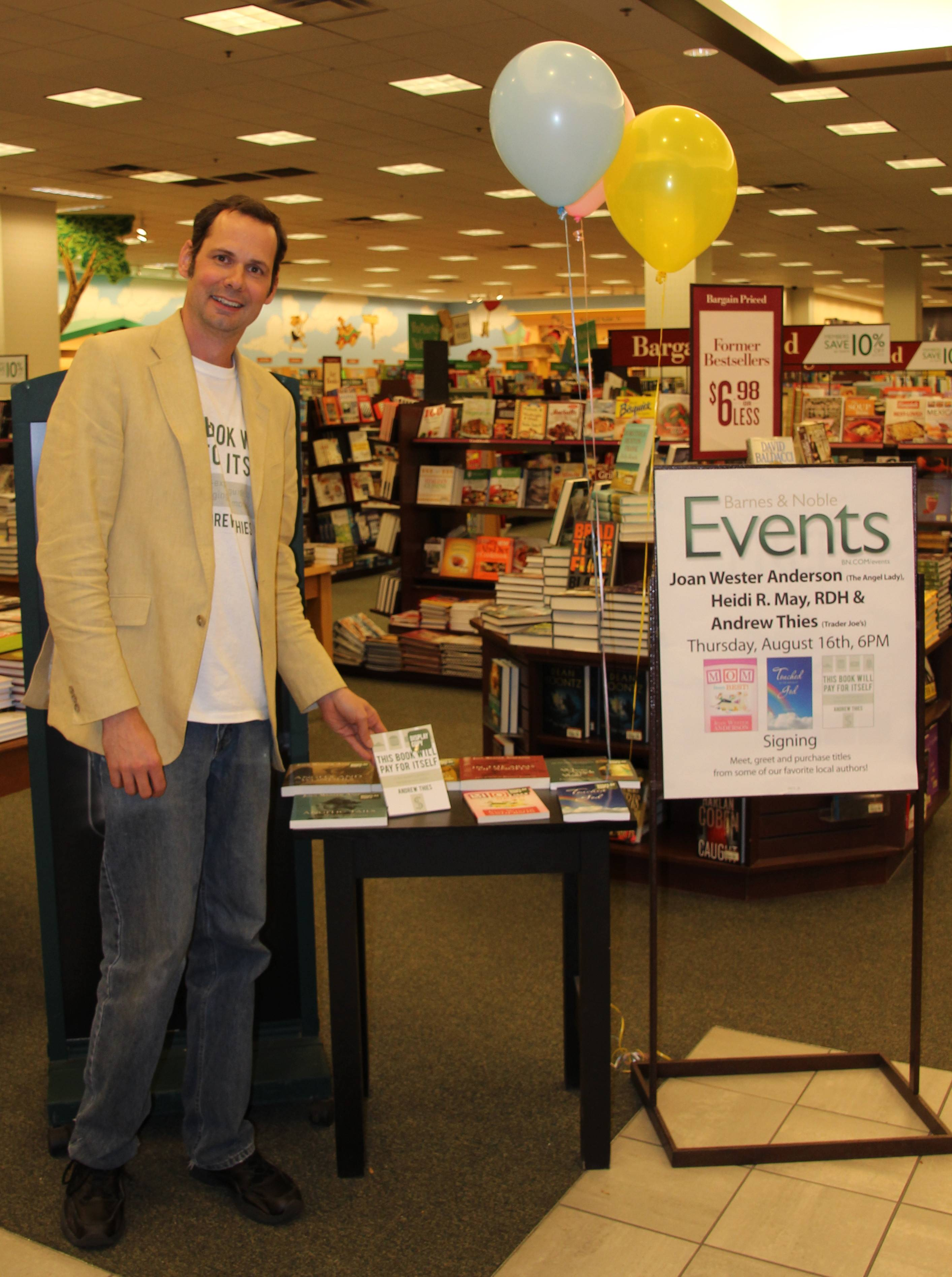 THies at a book signing at a Barnes and Noble