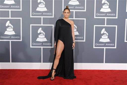 Jennifer Lopez arrives at the 55th annual Grammy Awards on Sunday, Feb. 10, 2013, in Los Angeles.