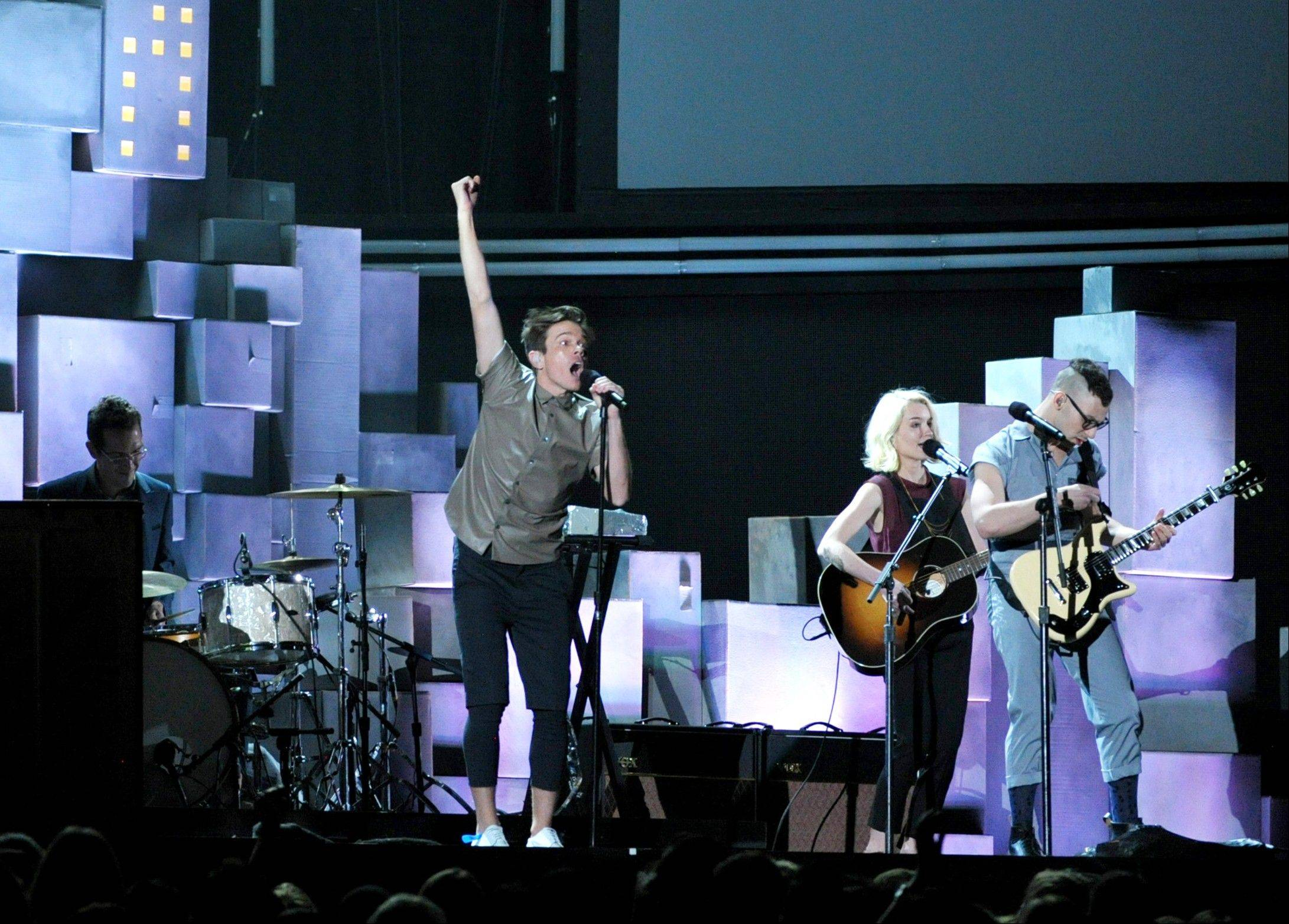 Musical group fun. performs at the 55th annual Grammy Awards on Sunday, Feb. 10, 2013, in Los Angeles. The band won best new artist and song of the year.