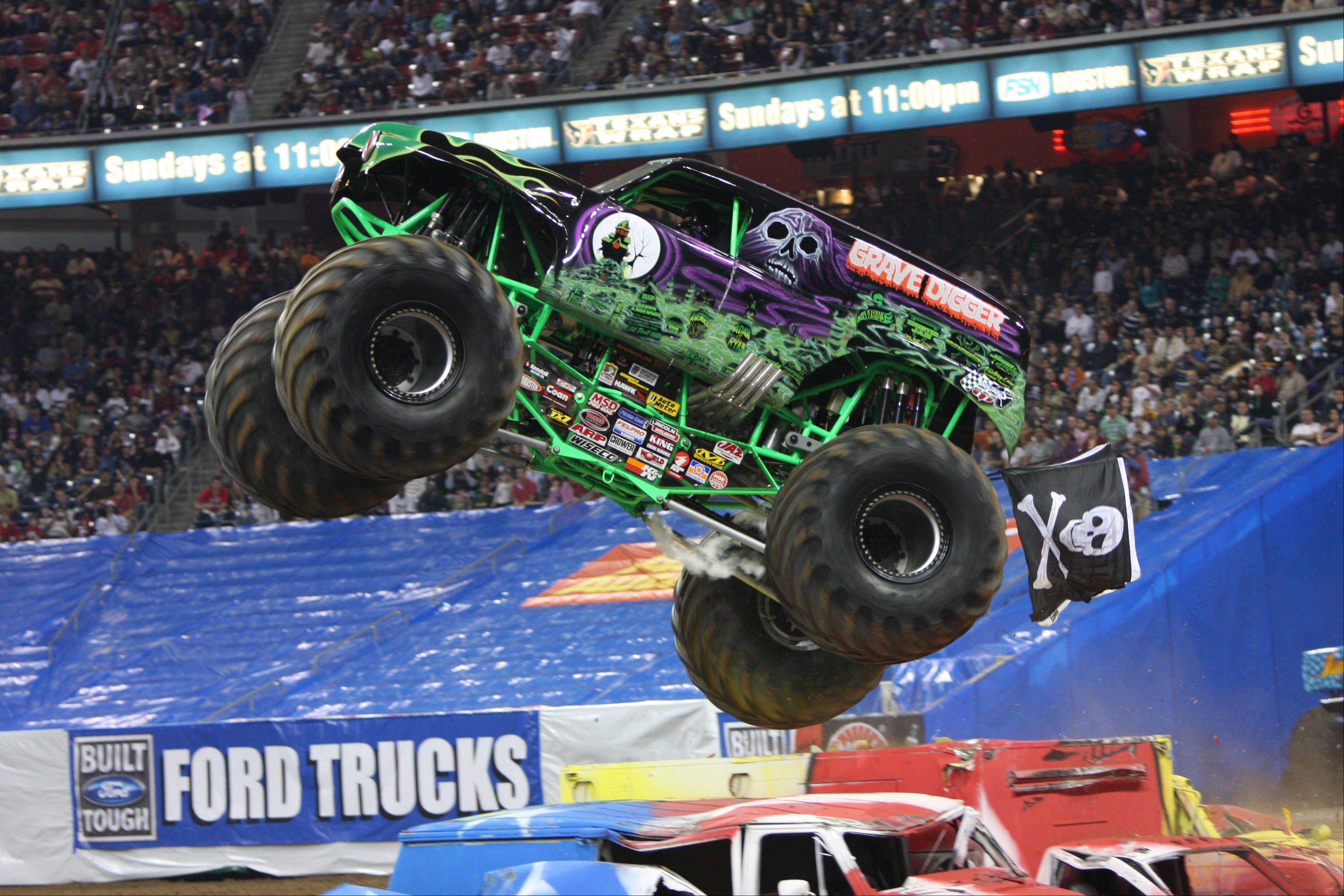 The Grave Digger jumps into action as part of