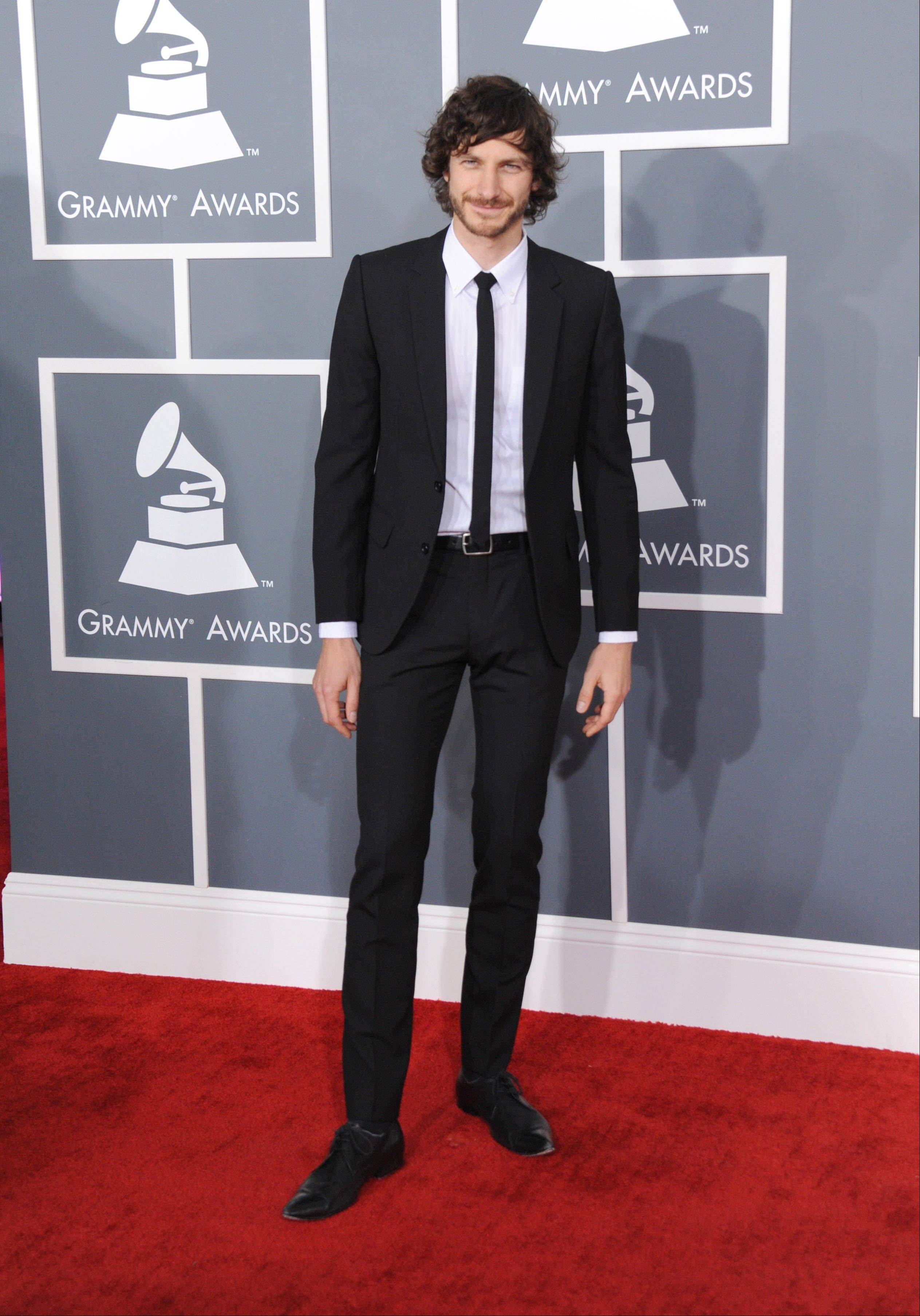 Musician Gotye arrives at the 55th annual Grammy Awards on Sunday, Feb. 10, 2013, in Los Angeles.