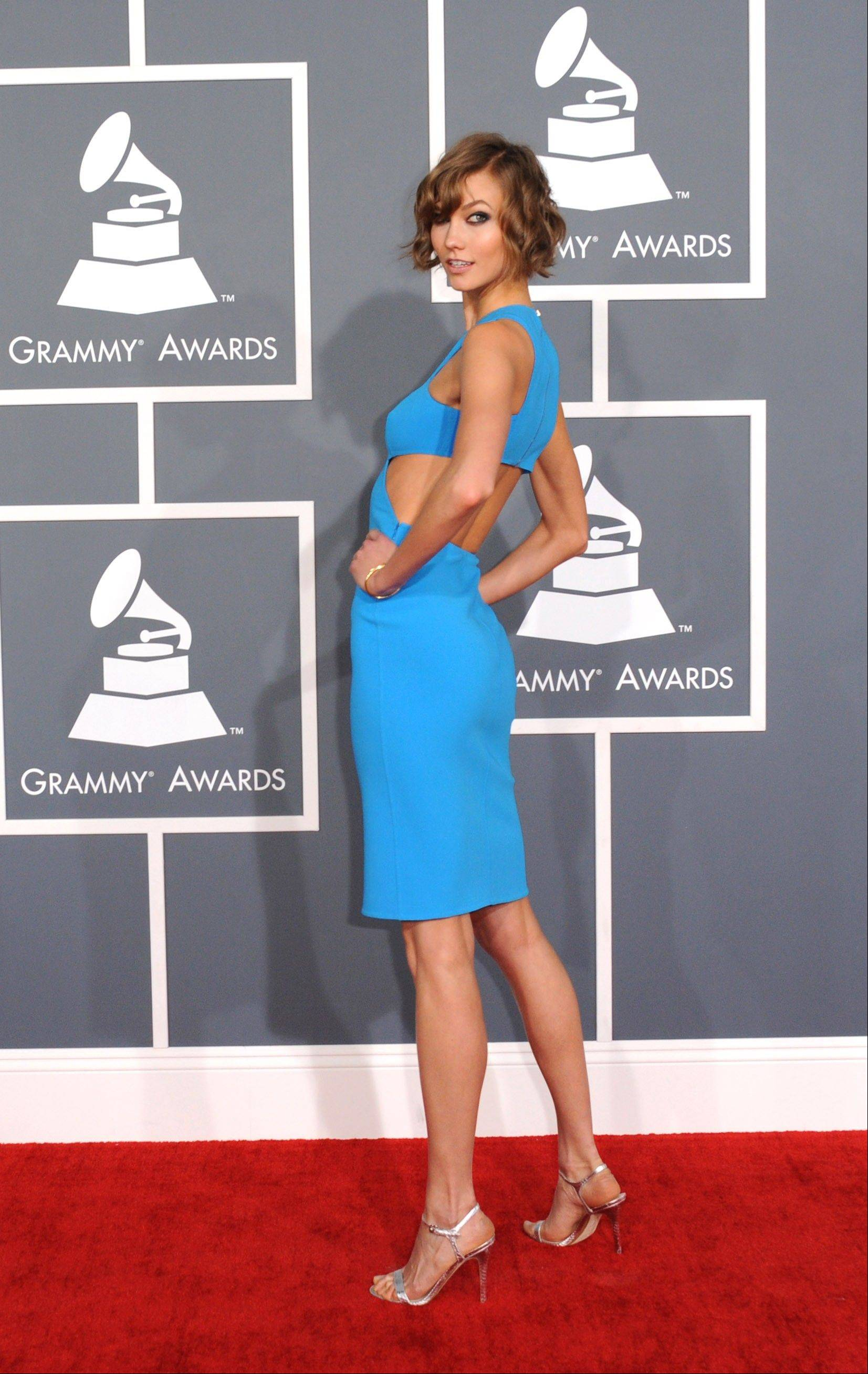 Karlie Kloss arrives at the 55th annual Grammy Awards on Sunday, Feb. 10, 2013, in Los Angeles.