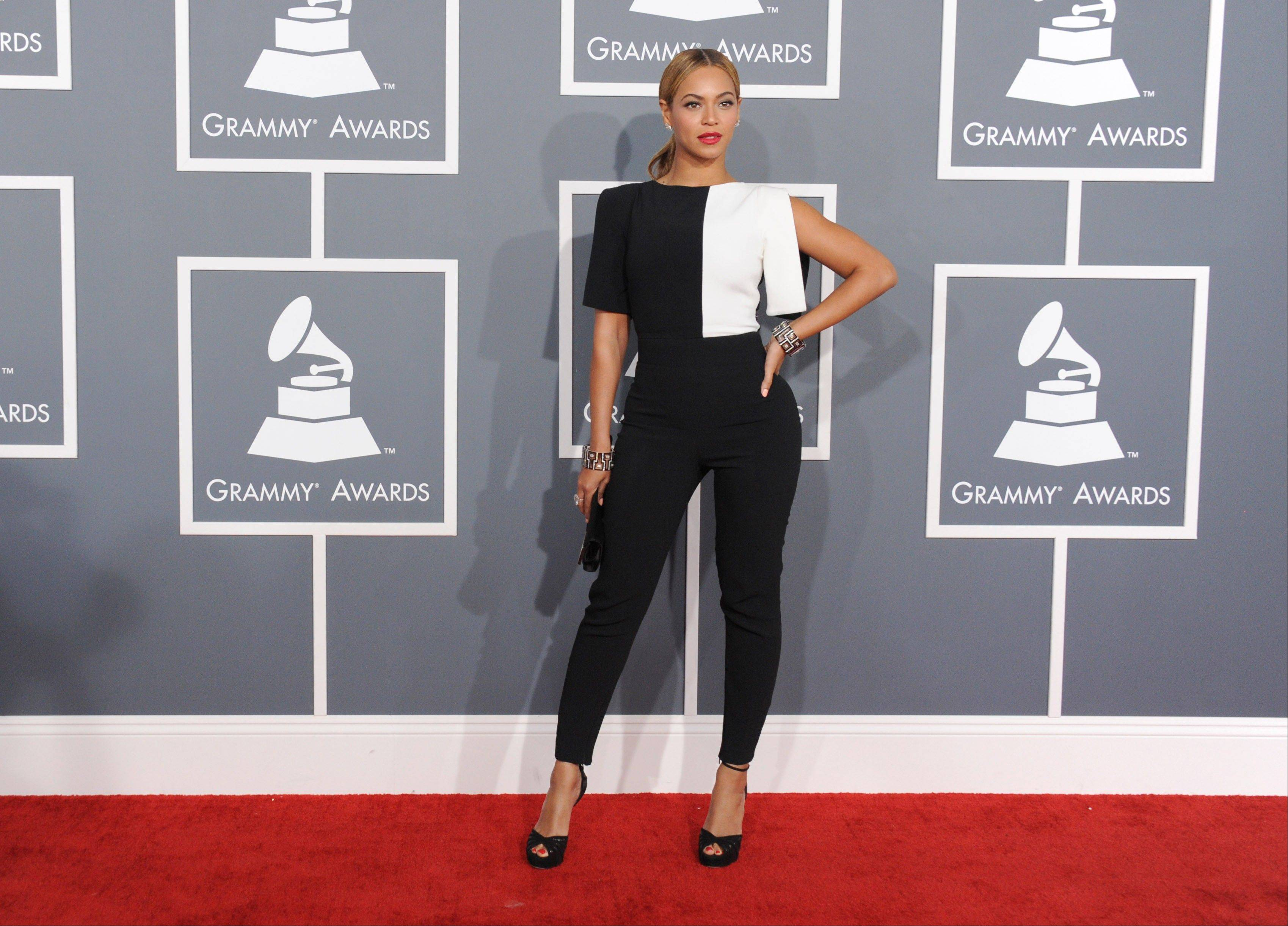 Beyonce arrives at the 55th annual Grammy Awards on Sunday, Feb. 10, 2013, in Los Angeles.