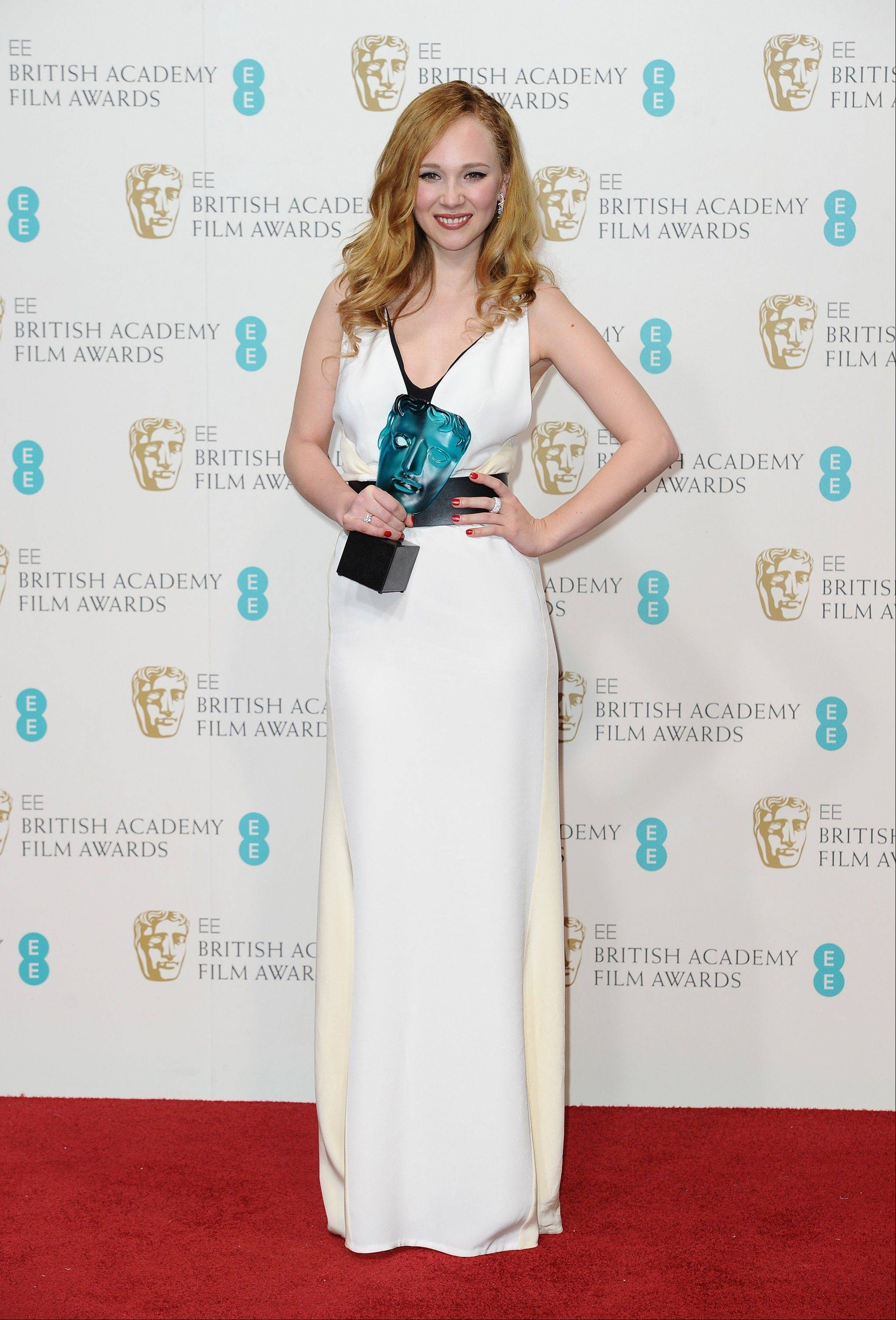English actress Juno Temple poses with the EE Rising Star Award backstage at the BAFTA Film Awards at the Royal Opera House on Sunday, Feb. 10, 2013, in London.