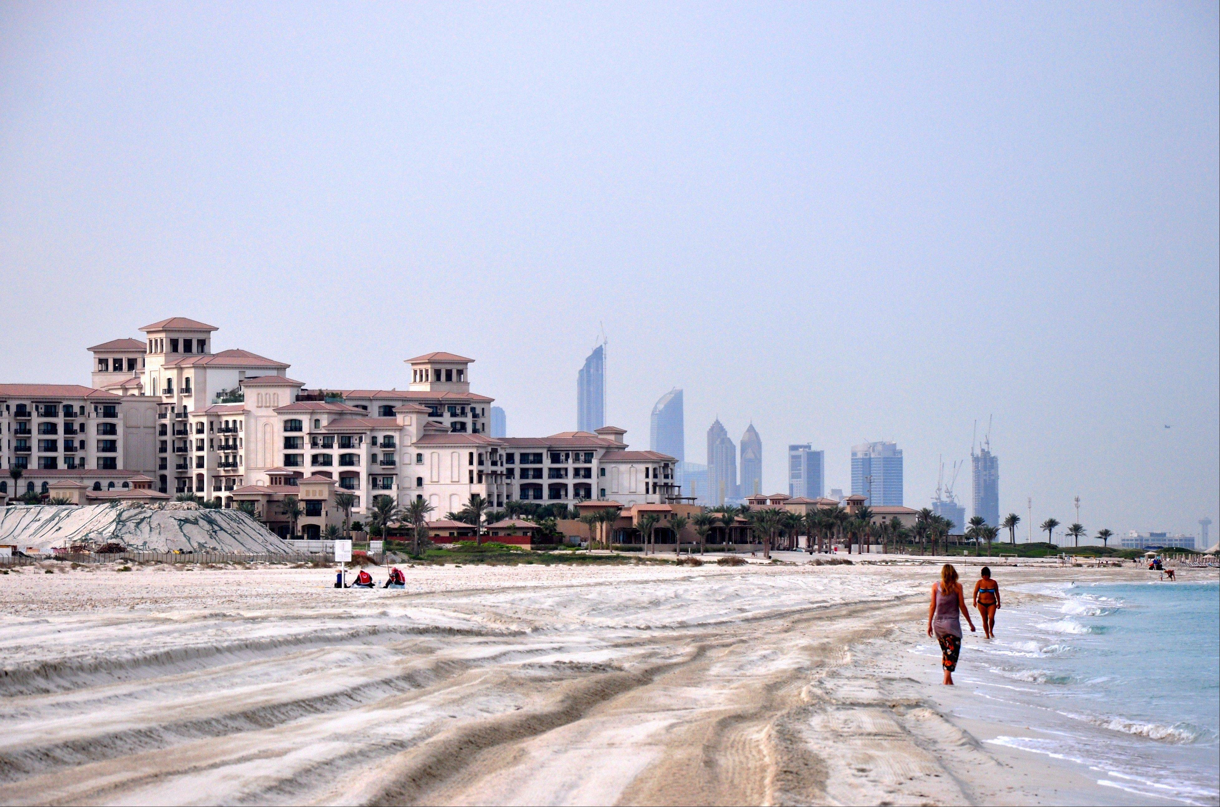 The beach on Saadiyat Island stretches for six miles along the Persian Gulf. Just a half-hour from Abu Dhabi city, it has the ambience of a retreat to a tropical resort.