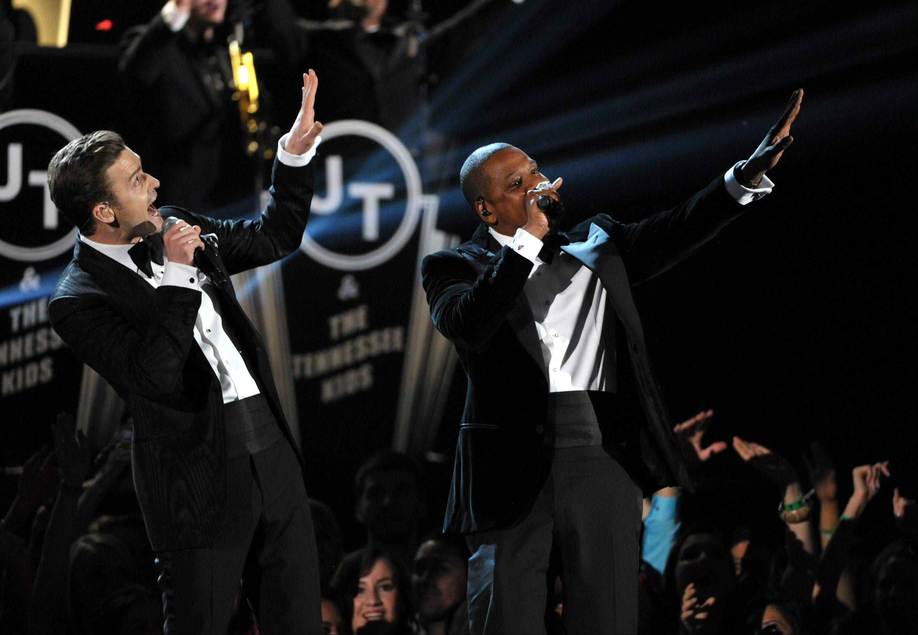Justin Timberlake, left, and Jay-Z perform on stage at the 55th annual Grammy Awards on Sunday, Feb. 10, 2013, in Los Angeles.