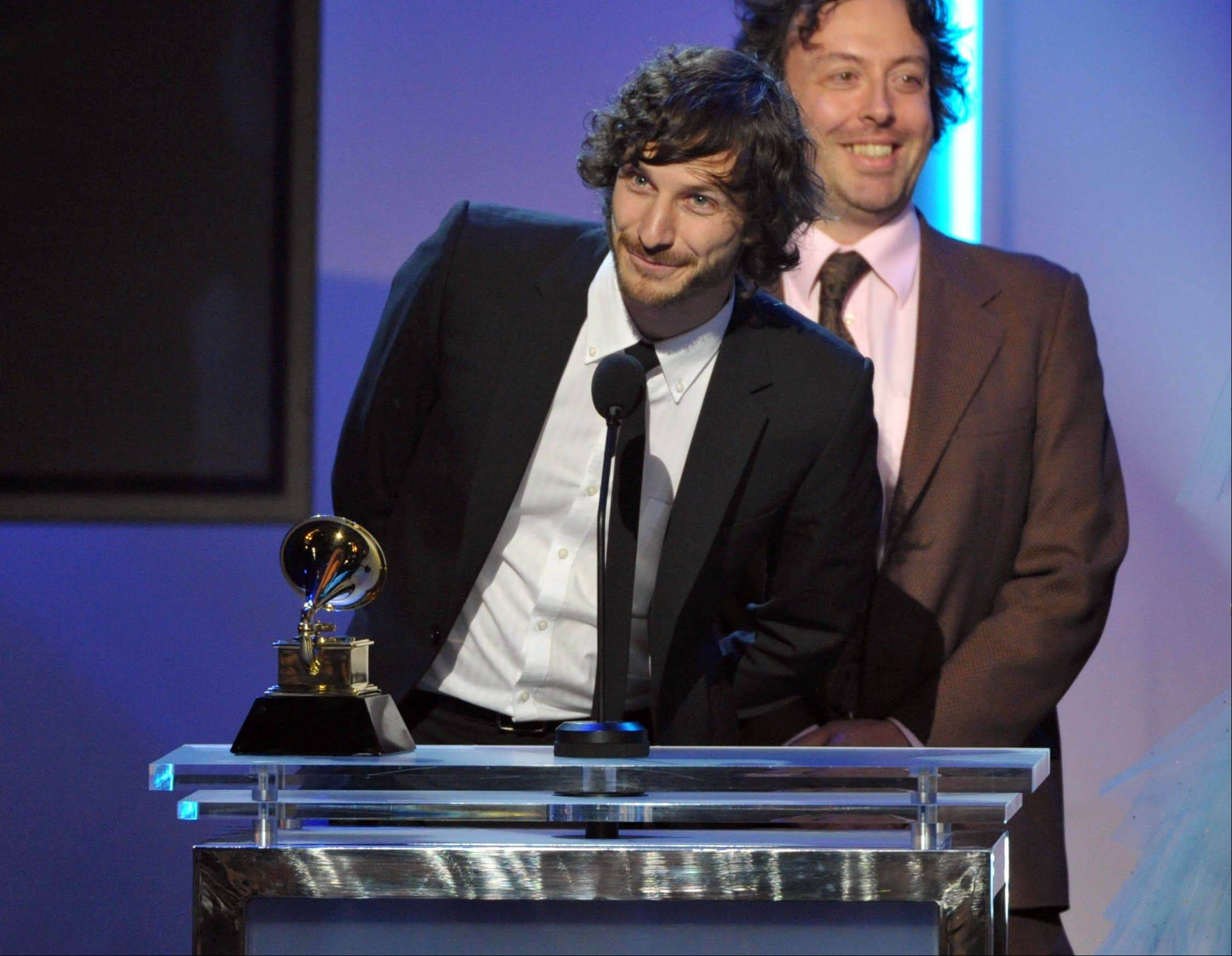 "Gotye accepts the award for best alternative music album for ""Making Mirrors"" during the pre-telecast at the 55th annual Grammy Awards on Sunday, Feb. 10, 2013, in Los Angeles."