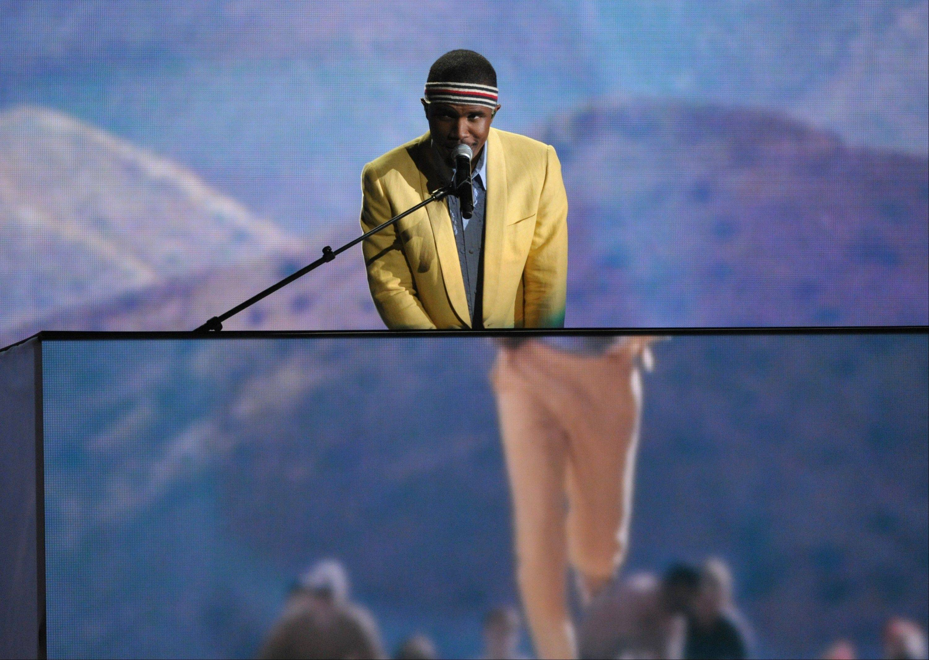 Frank Ocean performs on stage at the 55th annual Grammy Awards on Sunday, Feb. 10, 2013, in Los Angeles.