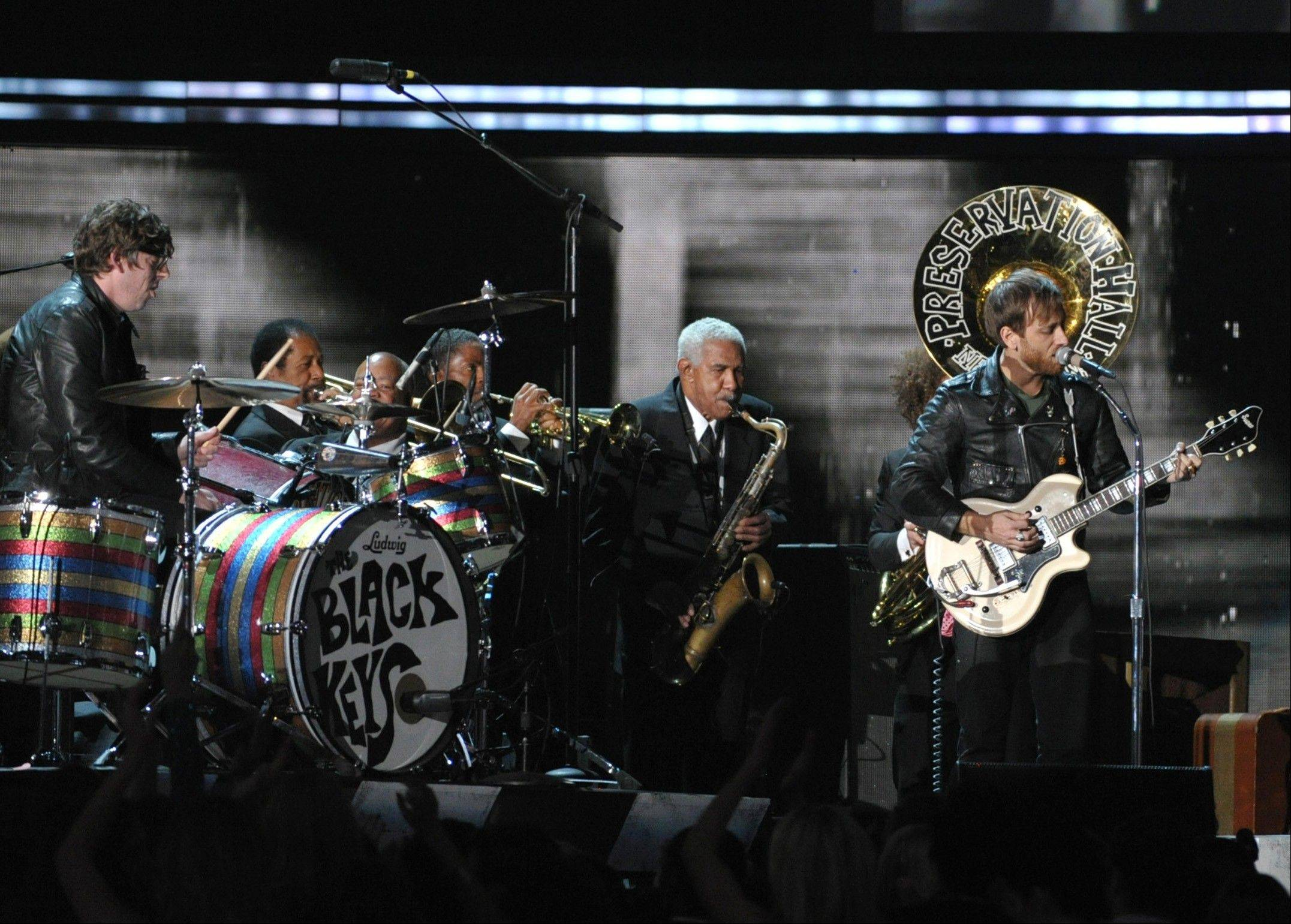 Patrick Carney and Dan Auerbach of musical group The Black Keys perform on stage at the 55th annual Grammy Awards on Sunday, Feb. 10, 2013, in Los Angeles.
