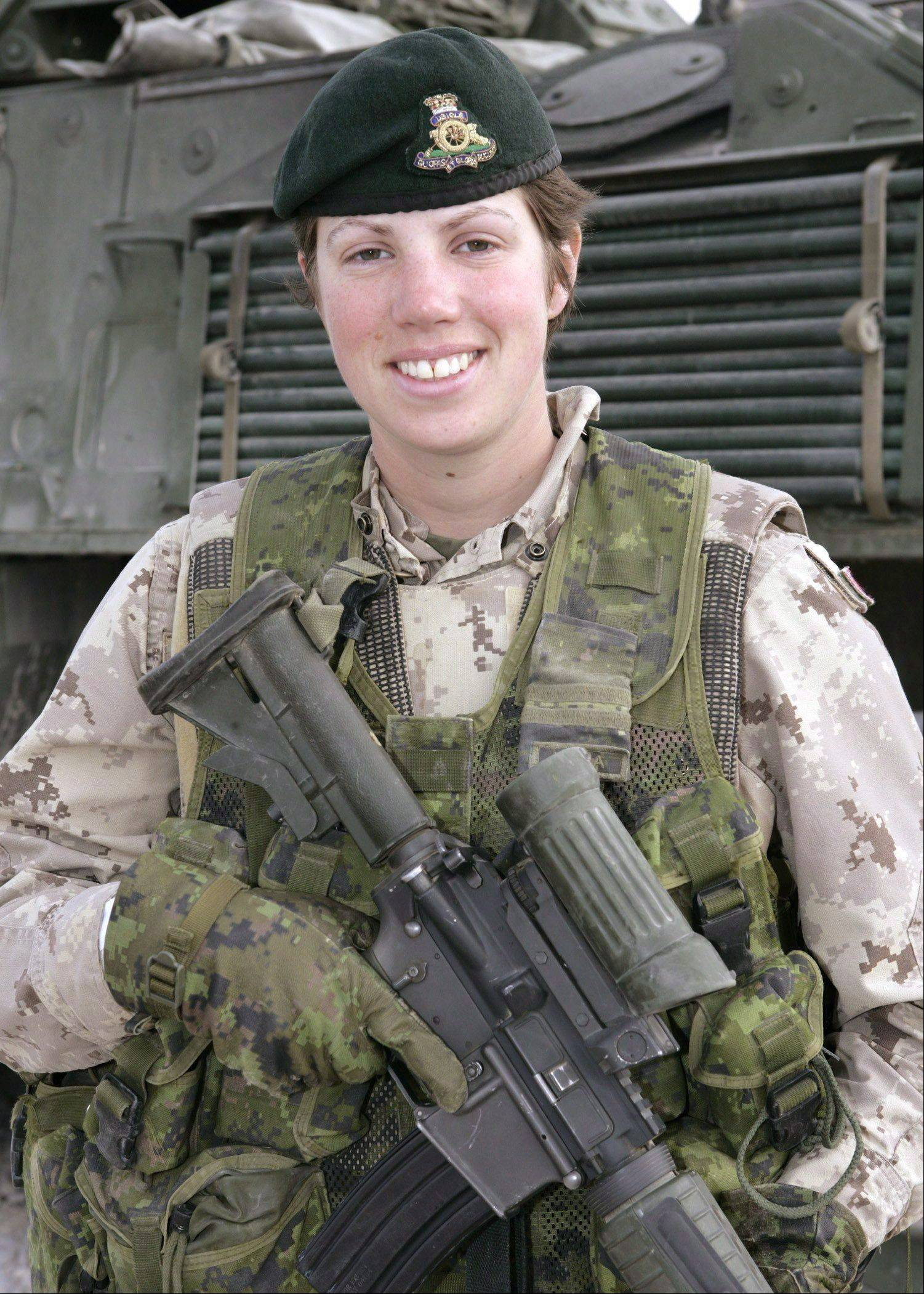 This undated photo provided by the Canadian Armed Forces shows Capt. Nichola Goddard, the first Canadian woman to be killed in battle since her country's 1989 decision to admit women soldiers into combat.
