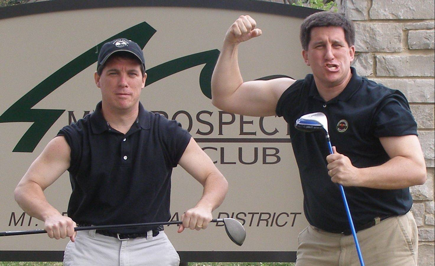 Not afraid to taunt the competition, brothers Bill, left, and Tom Latourette muscle up support for their annual charity golf tournament and charity event.